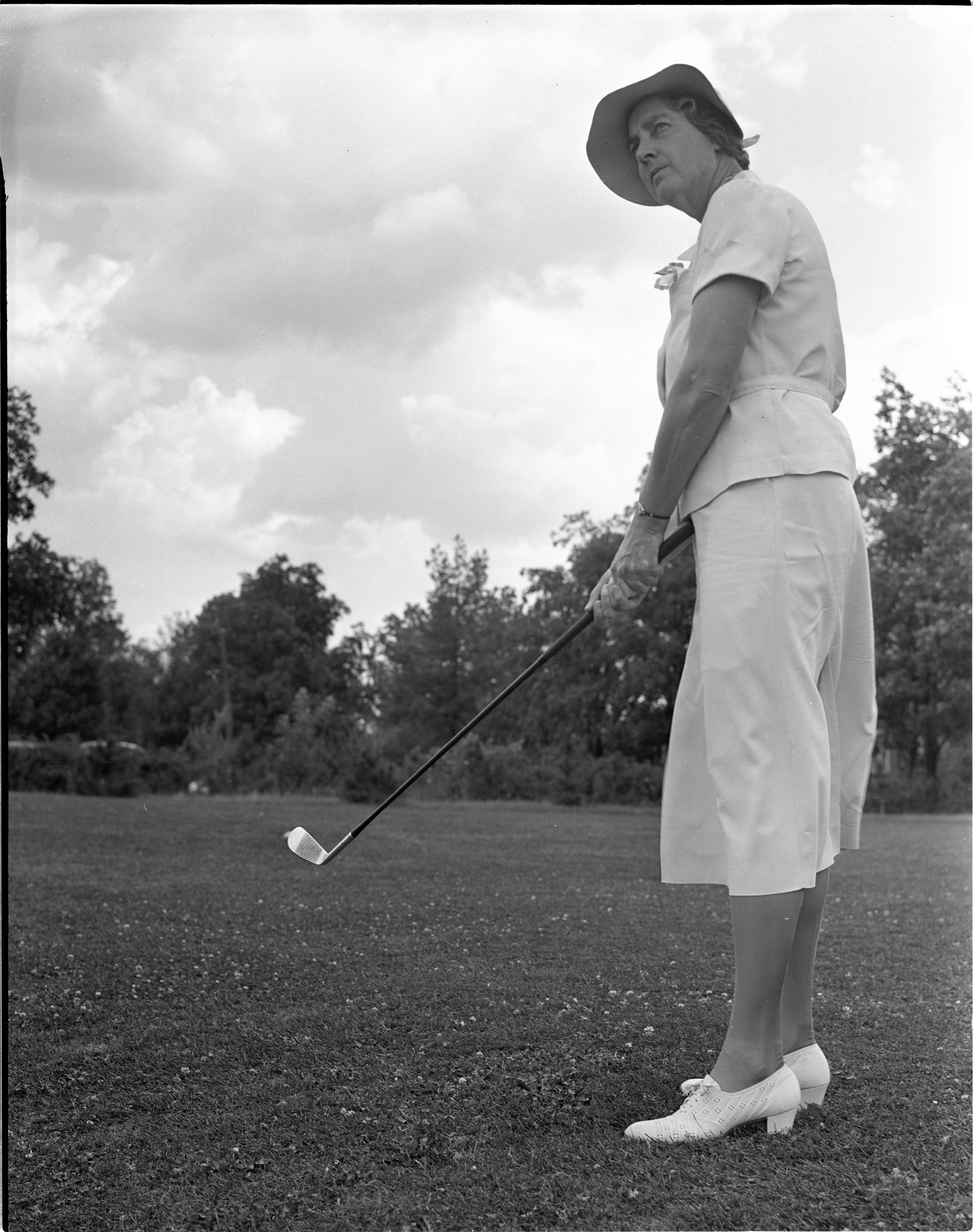 DeEtta Forsythe In The Women's City Golf Tournament Qualifying Rounds At Barton Hills, July 1939 image