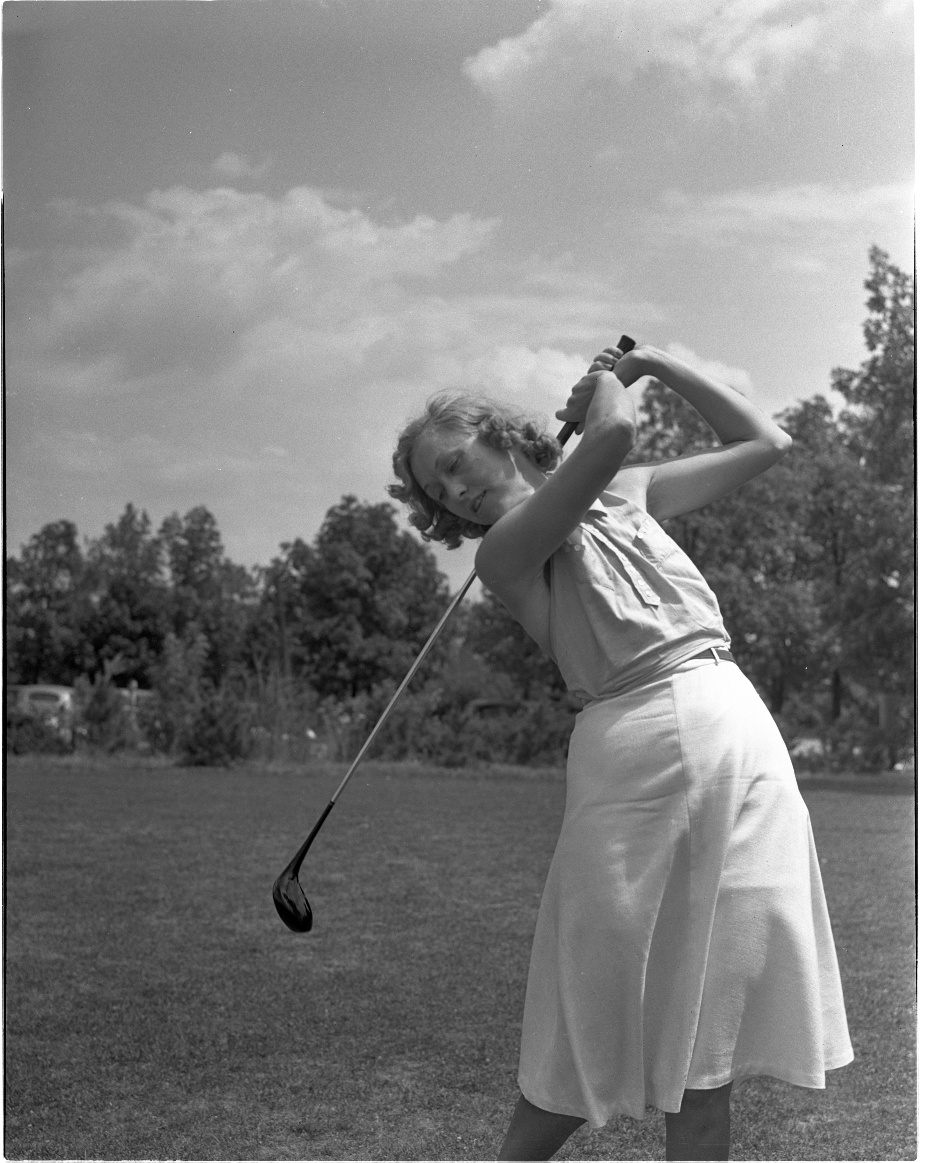 Josephine Lange In The Women's City Golf Tournament Qualifying Rounds At Barton Hills, July 1939 image
