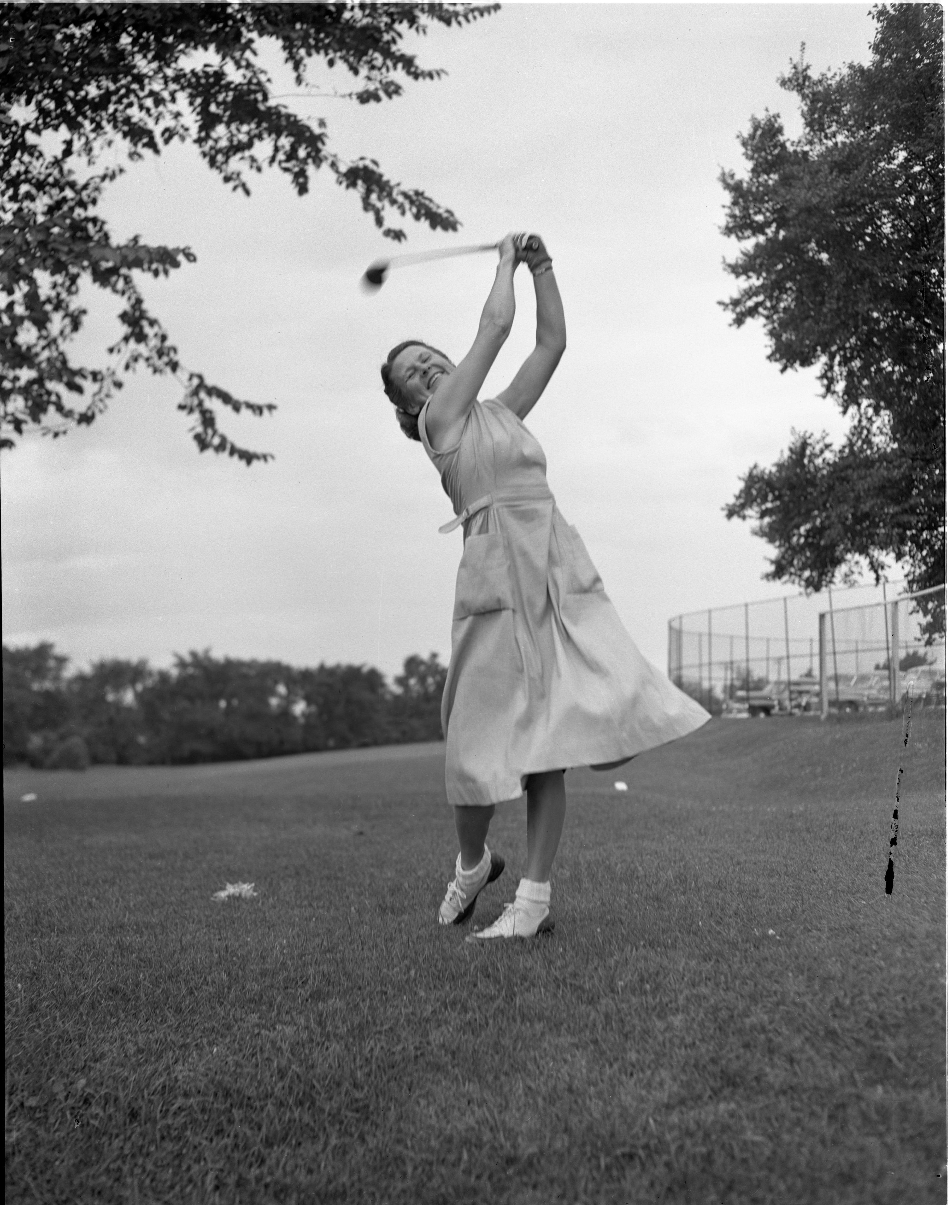 Mabel Nesbit During Qualifying Rounds For Women's City Golf Tournament, July 1948 image