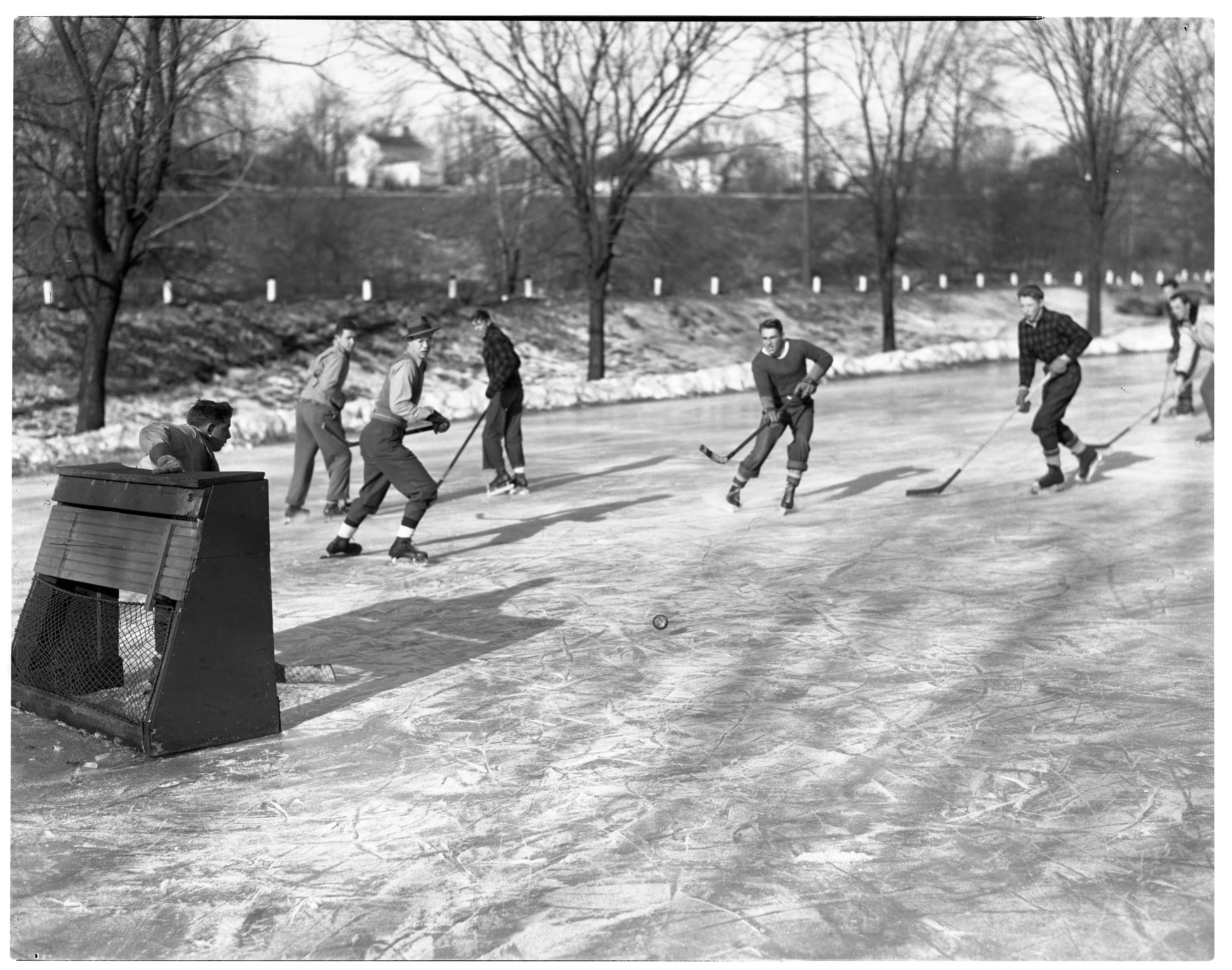 Outdoor Hockey at North Side Pond, January 1947 image