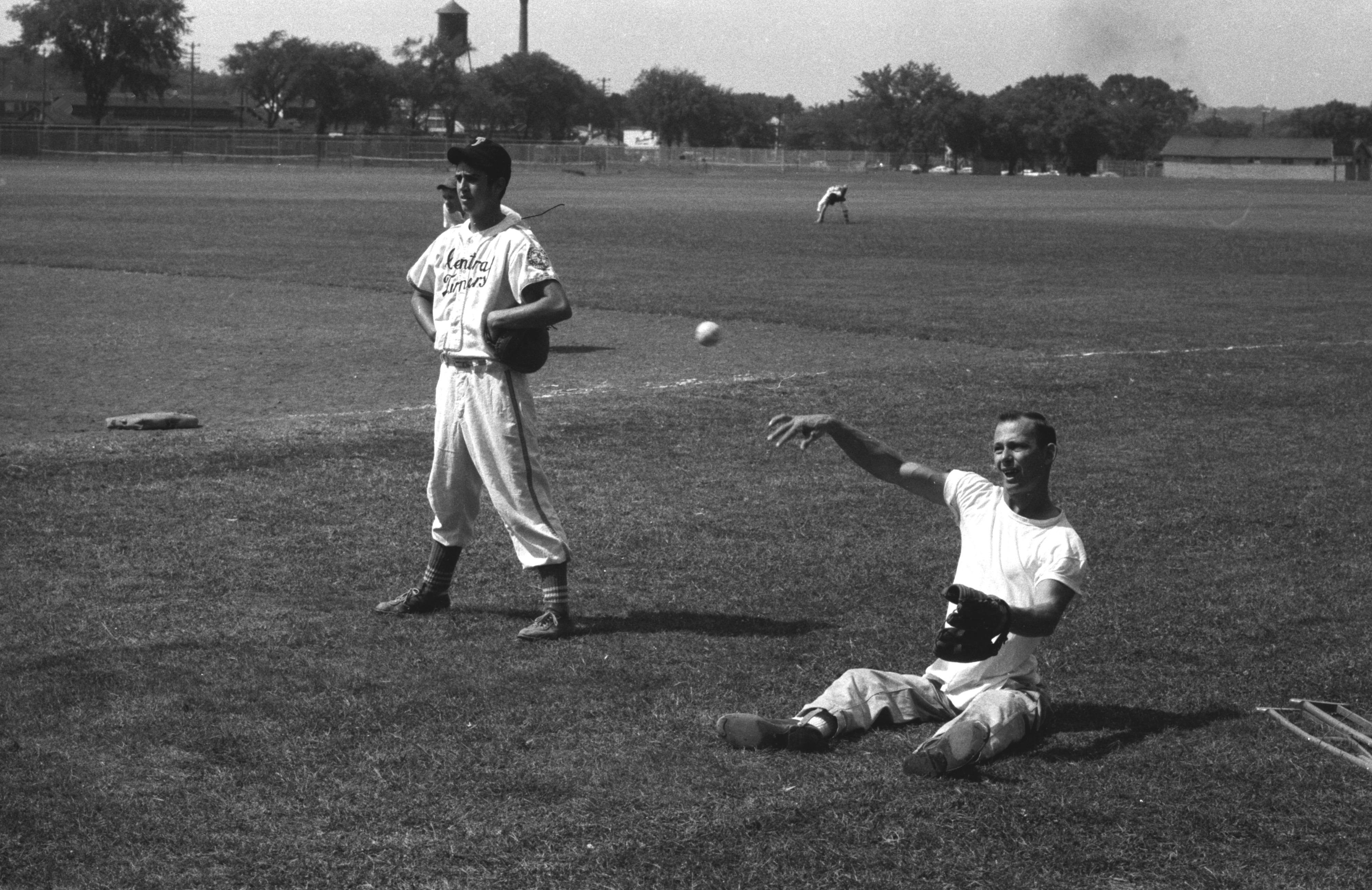 Don Hasselbusch, Polio Victim, Plays & Coaches Baseball For The Babe Ruth League World Series At Michigan Stadium, August 20, 1957 image