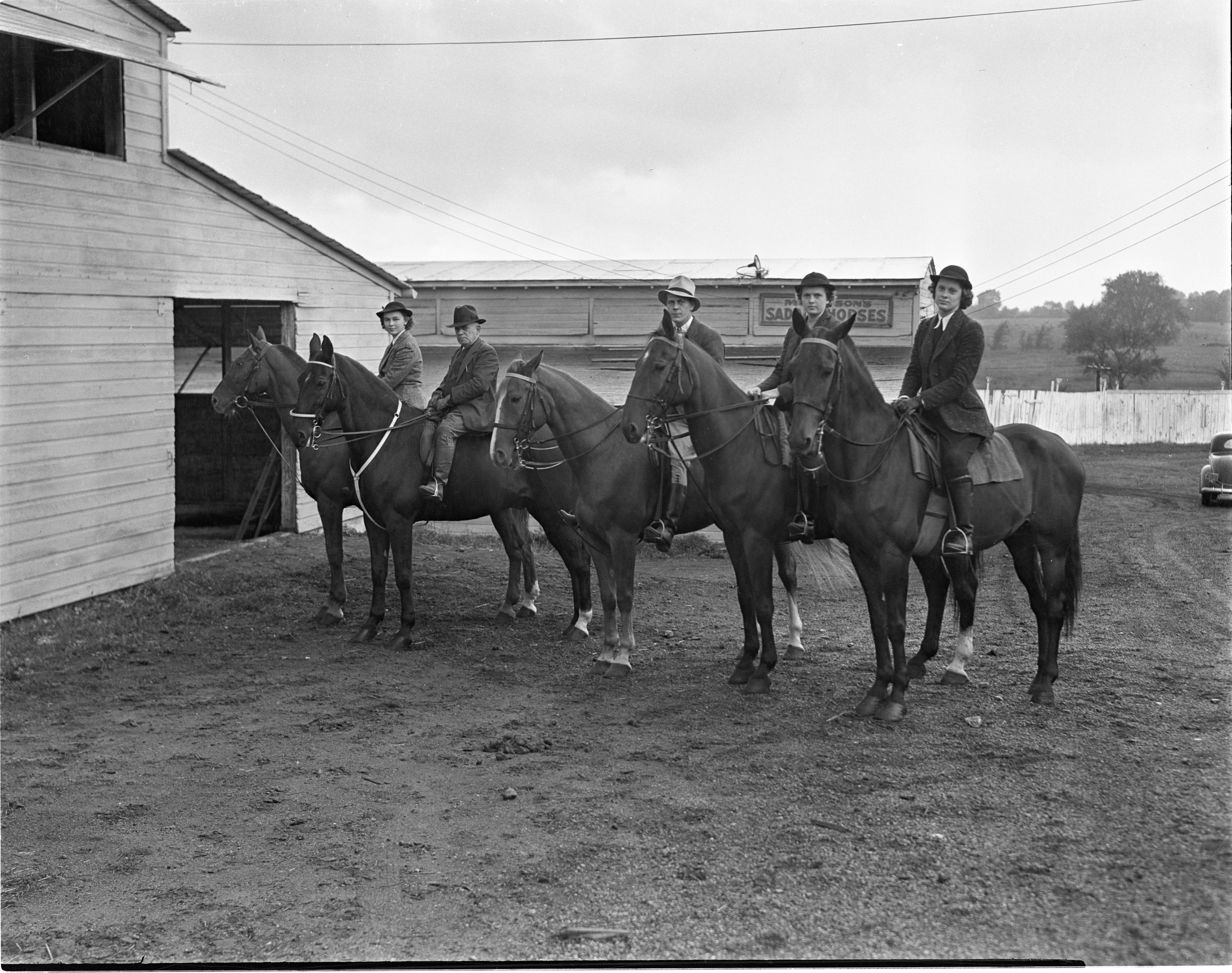 Horses & Riders Outside The Mullison Riding Stables, October 1938 image