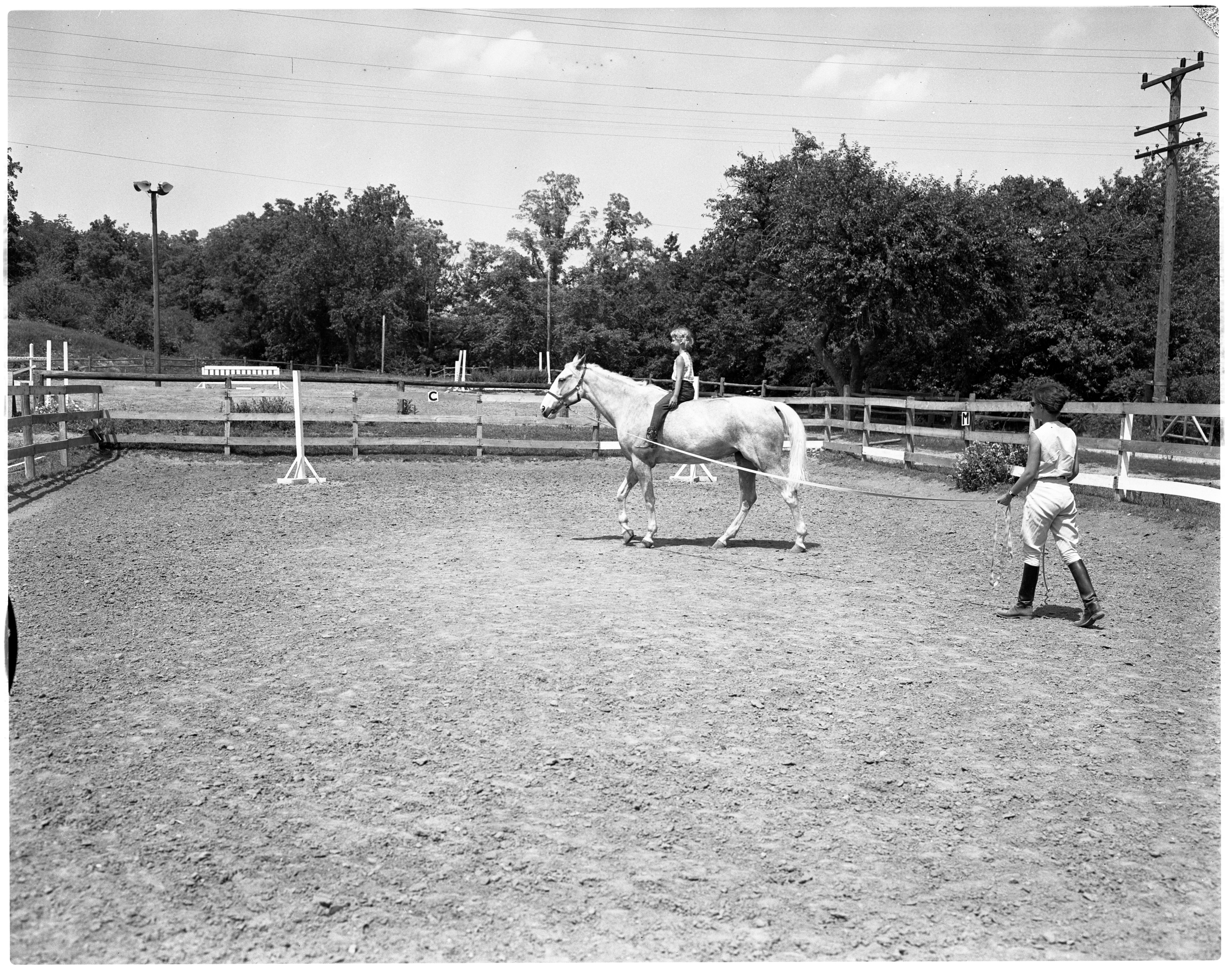 Sarah Kennedy Rides Anne Oakley - Everett's Riding School, July 1964 image