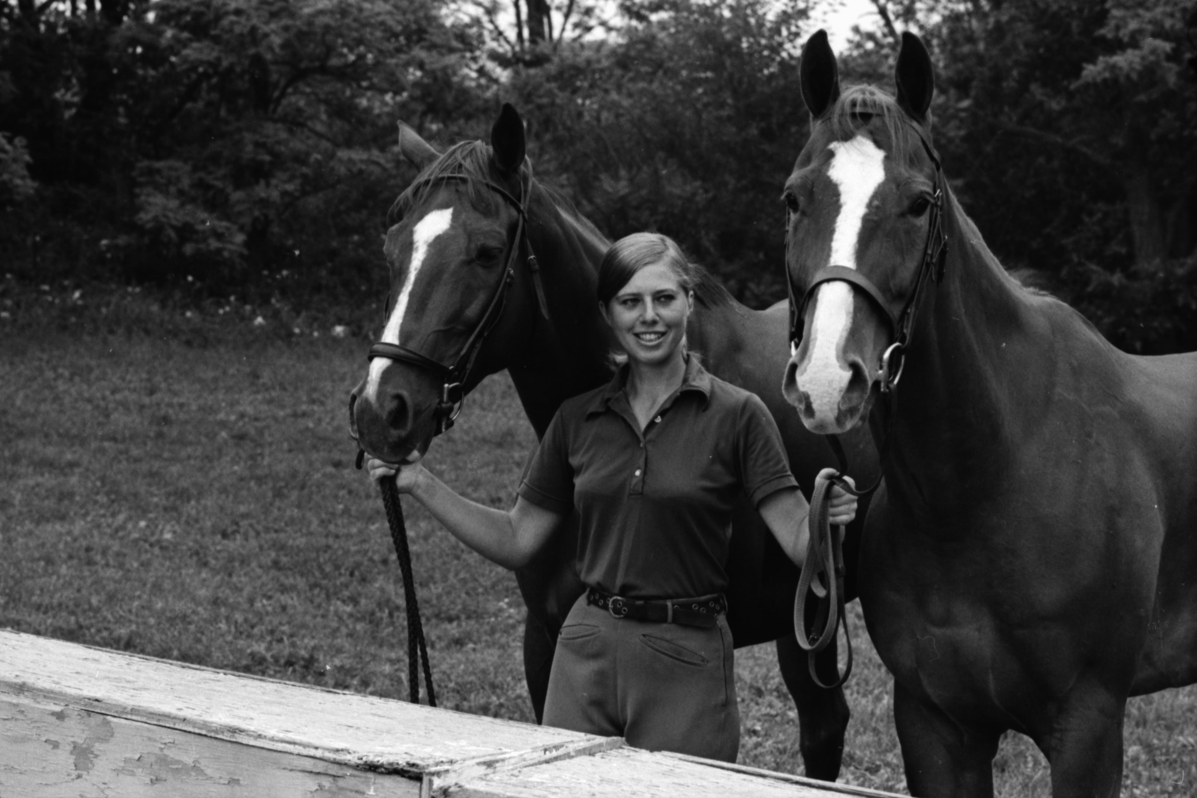 Cindy Carlson with horses she rode in the Michigan Horse Show Association Contest, December 1972 image