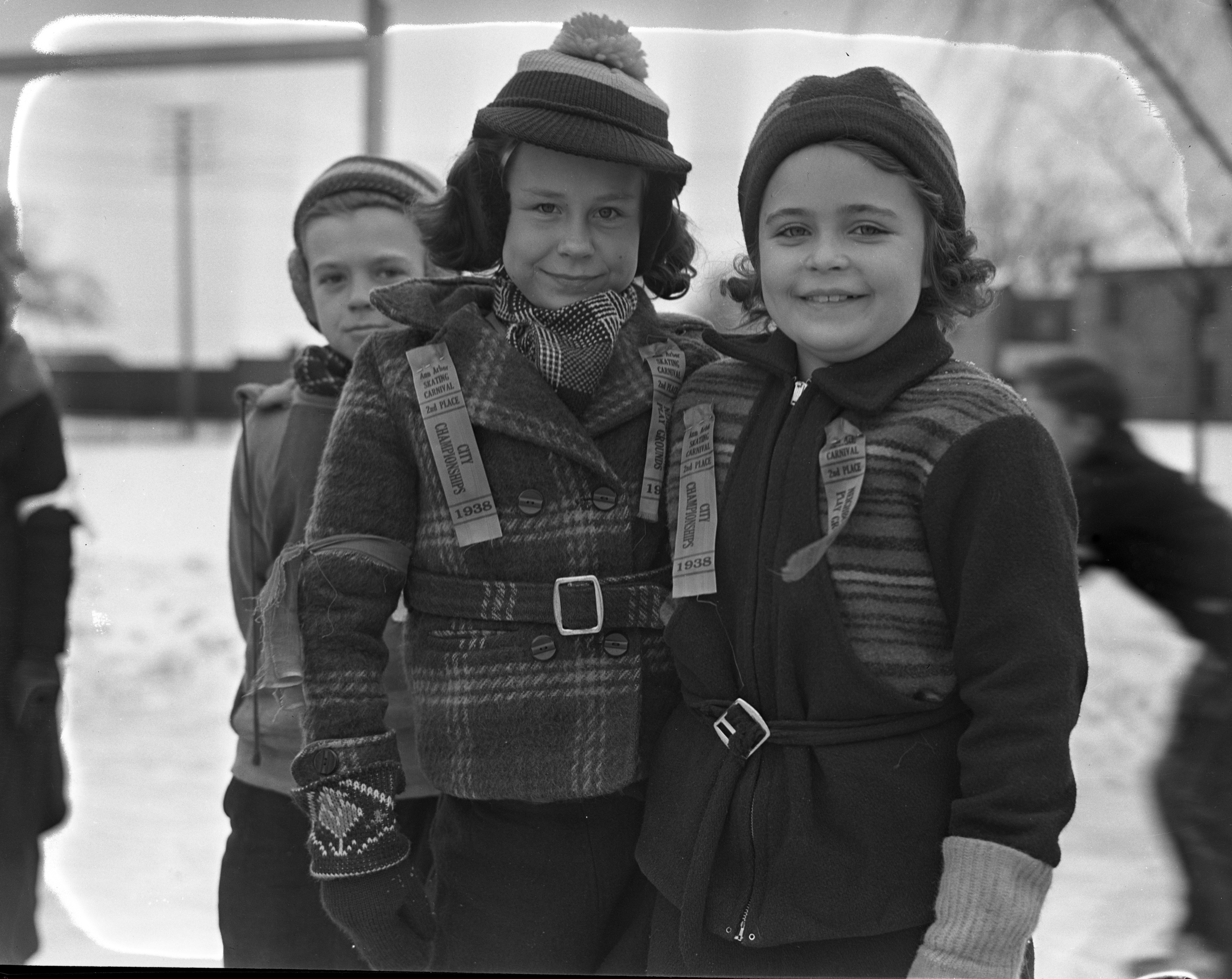 Betty Ann Keppler and Joan Micheson at the City Skating Carnival, West Park, January 1938 image
