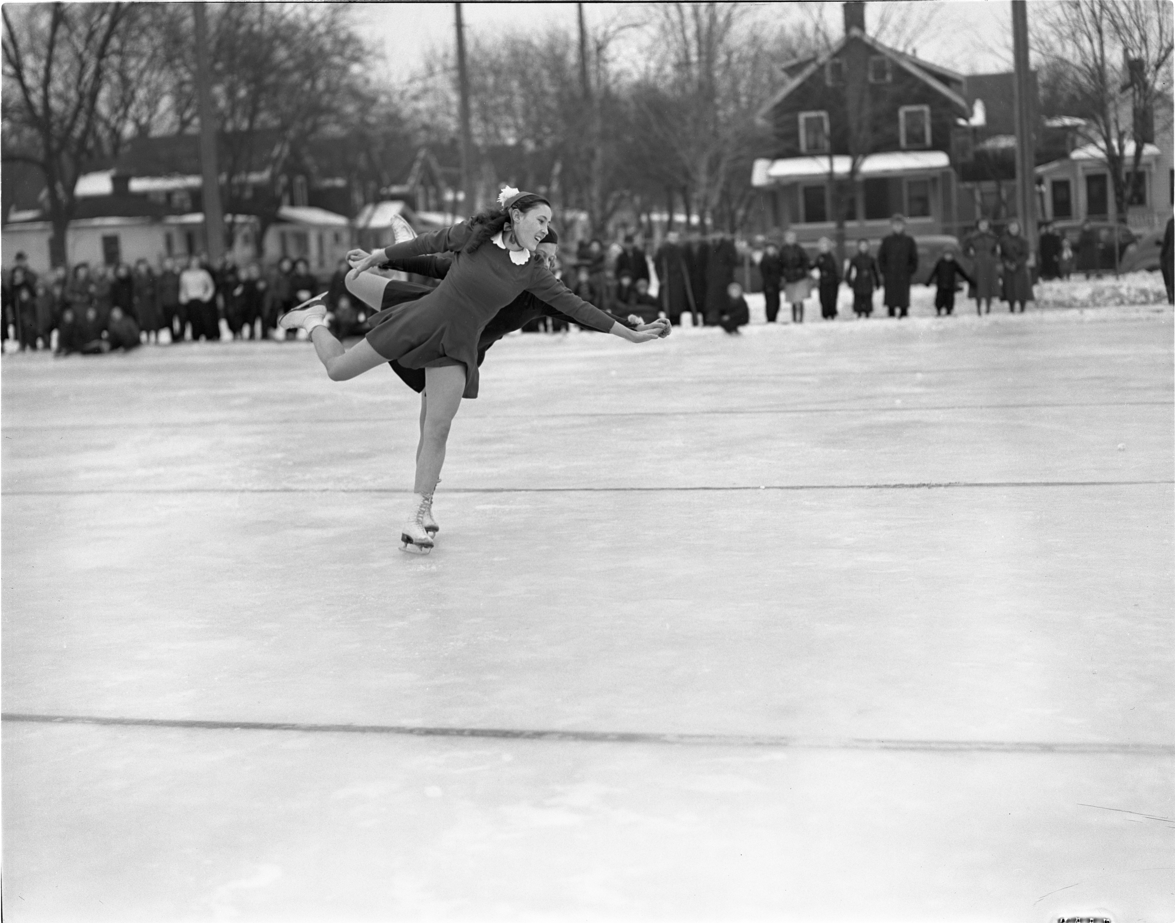 Mary Frances Greschke & Mary Jane Courtright Perform At The City Skating Carnival, January 1939 image