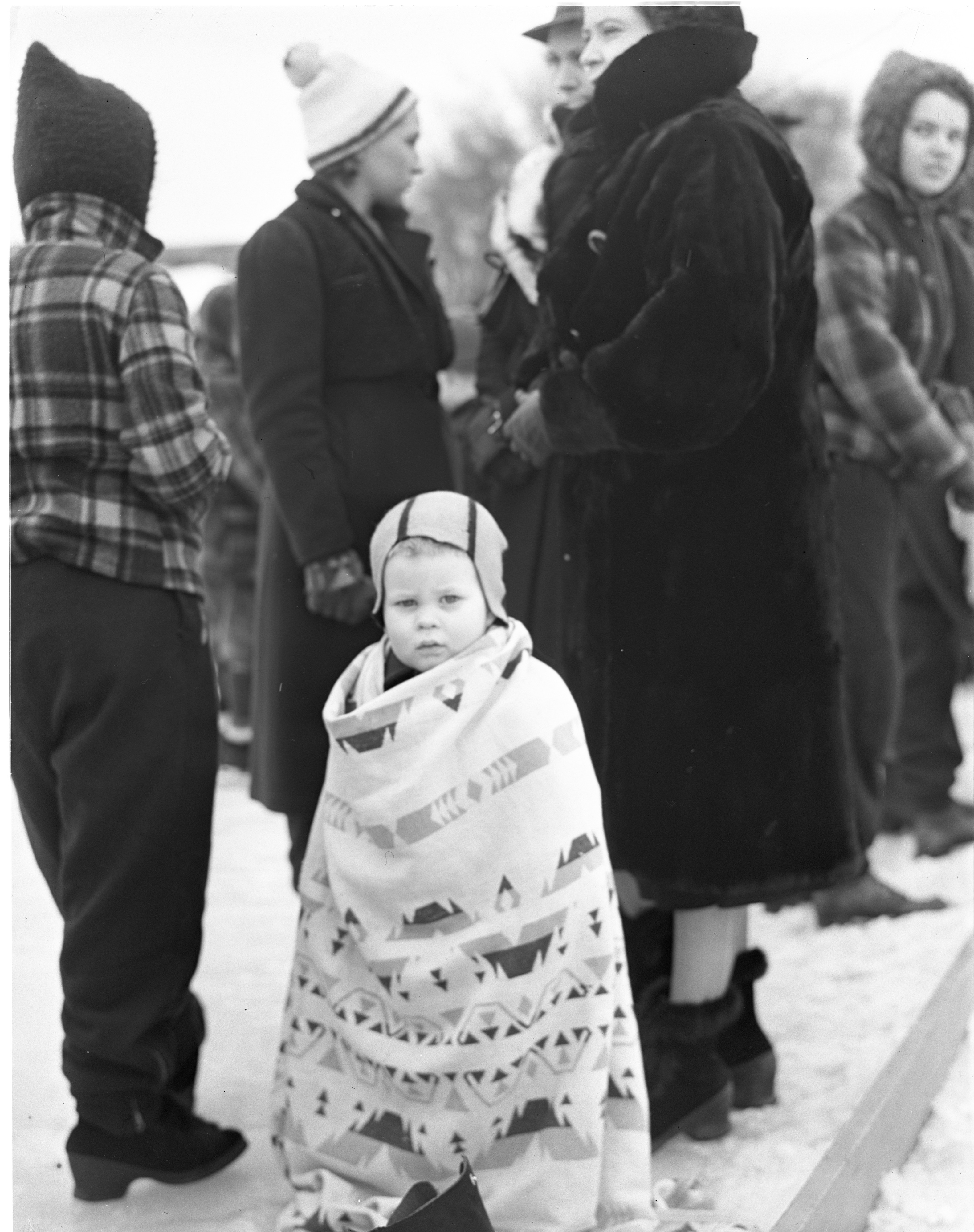 Young Spectator At The City Skating Carnival, January 1939 image