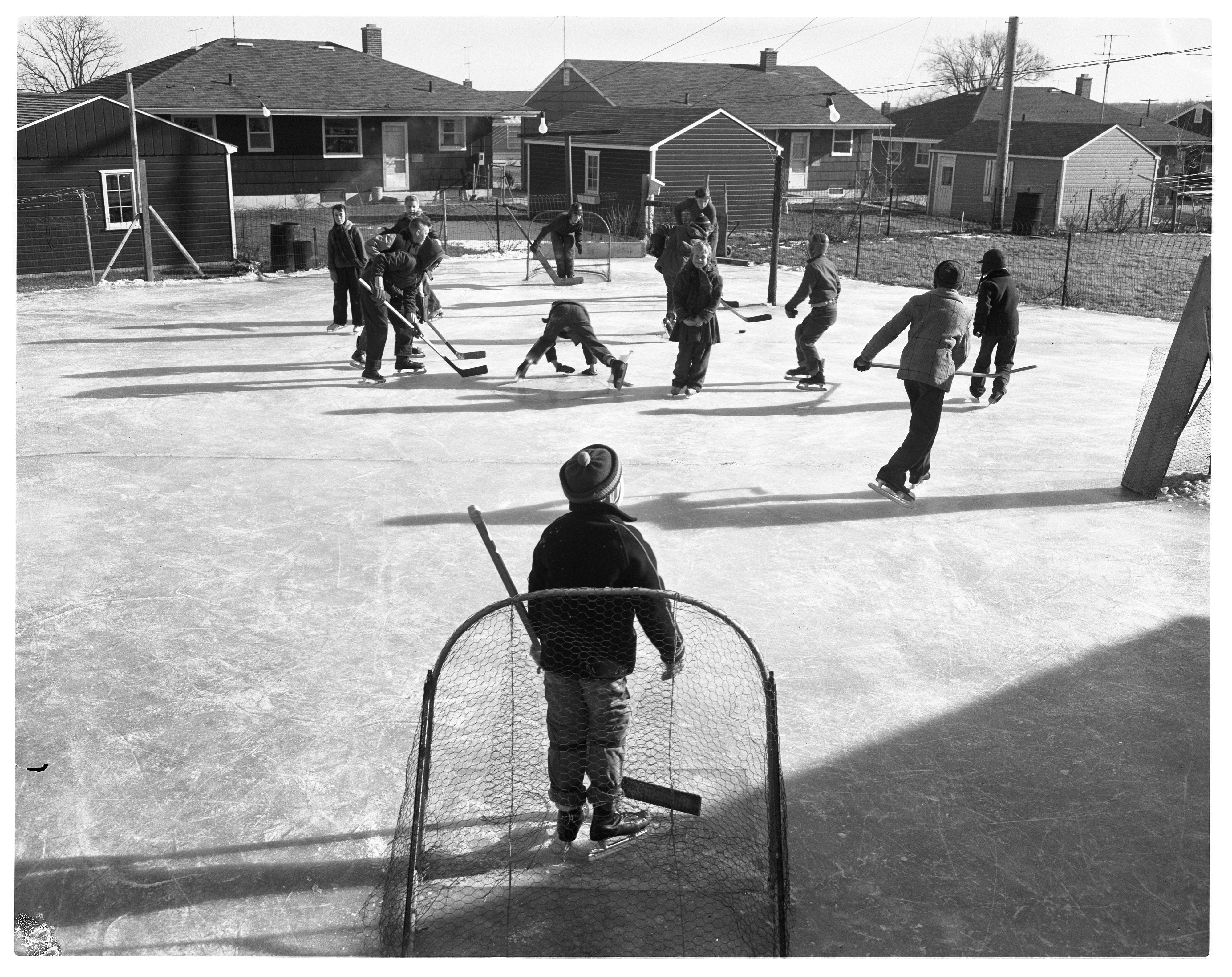 Pickup Hockey On Archie Kennedy's Backyard Ice Rink, January 1958 image