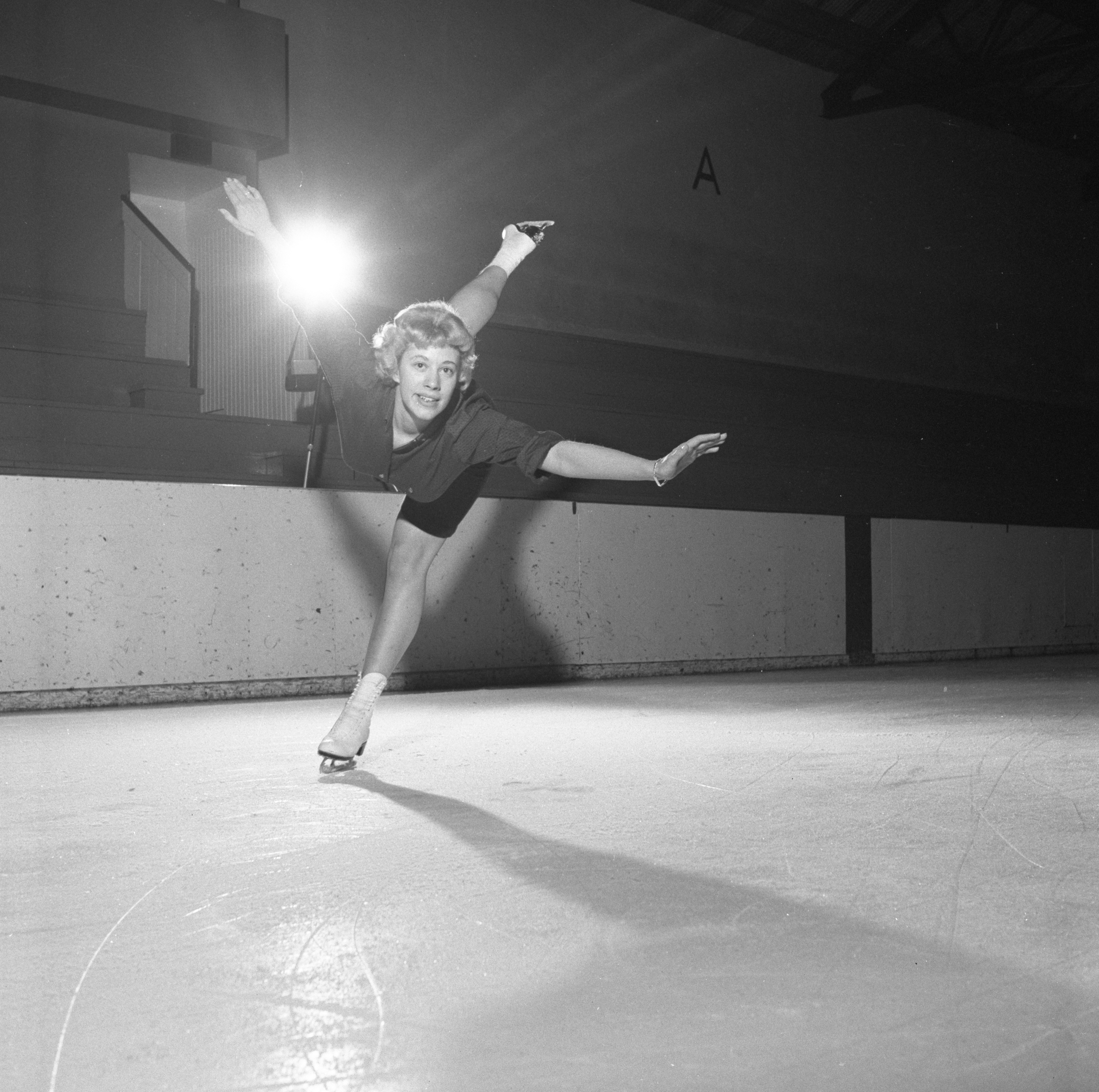 Sally Dilno Rehearses For Ann Arbor Figure Skating Club 'Melody On Ice' Show, March 1959 image