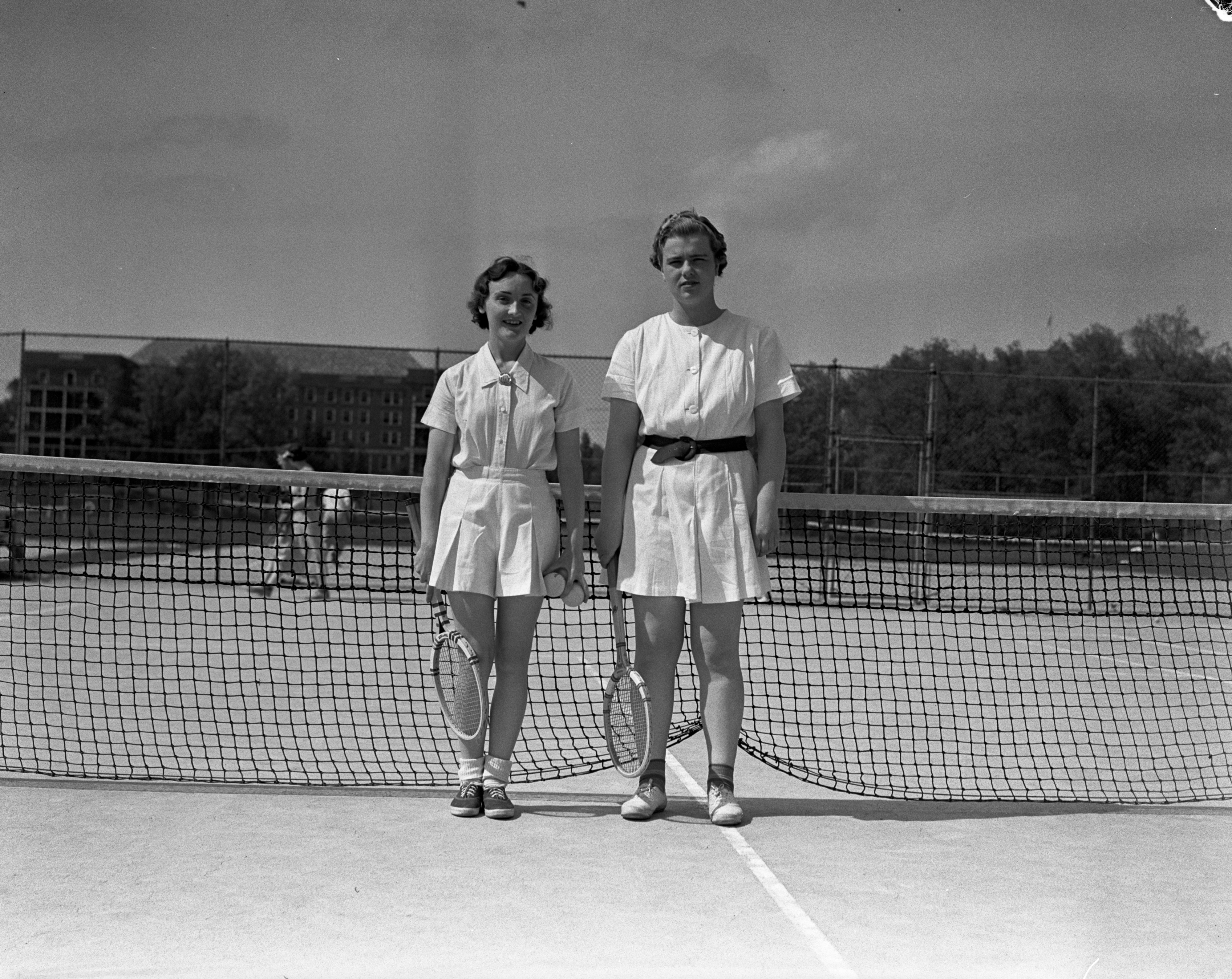 Merida Hobart and Catherine A. Sanders on the Palmer Field tennis courts, June 1937 image