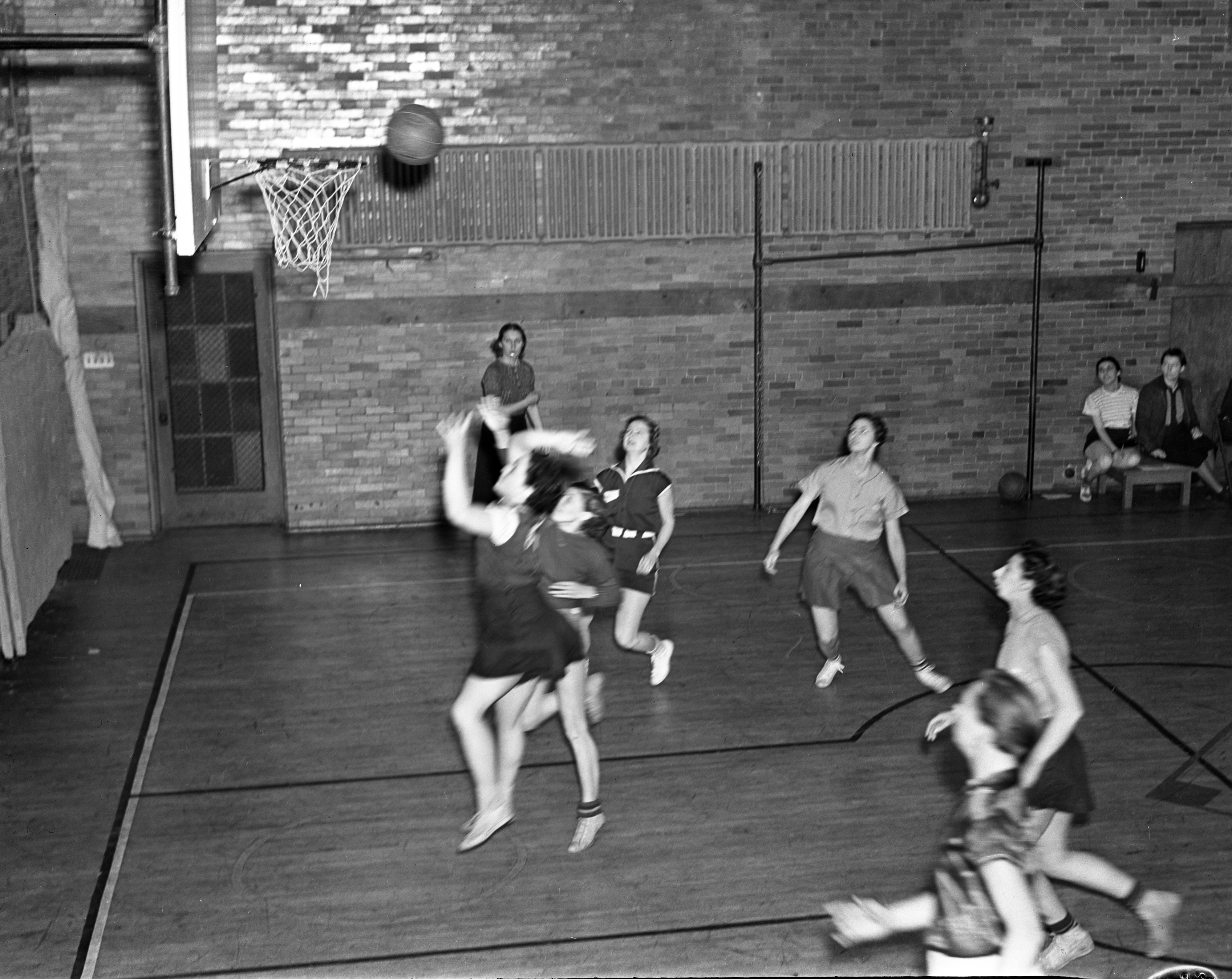 Edwards vs Silver Wings Girls Basketball Game, February 1938 image