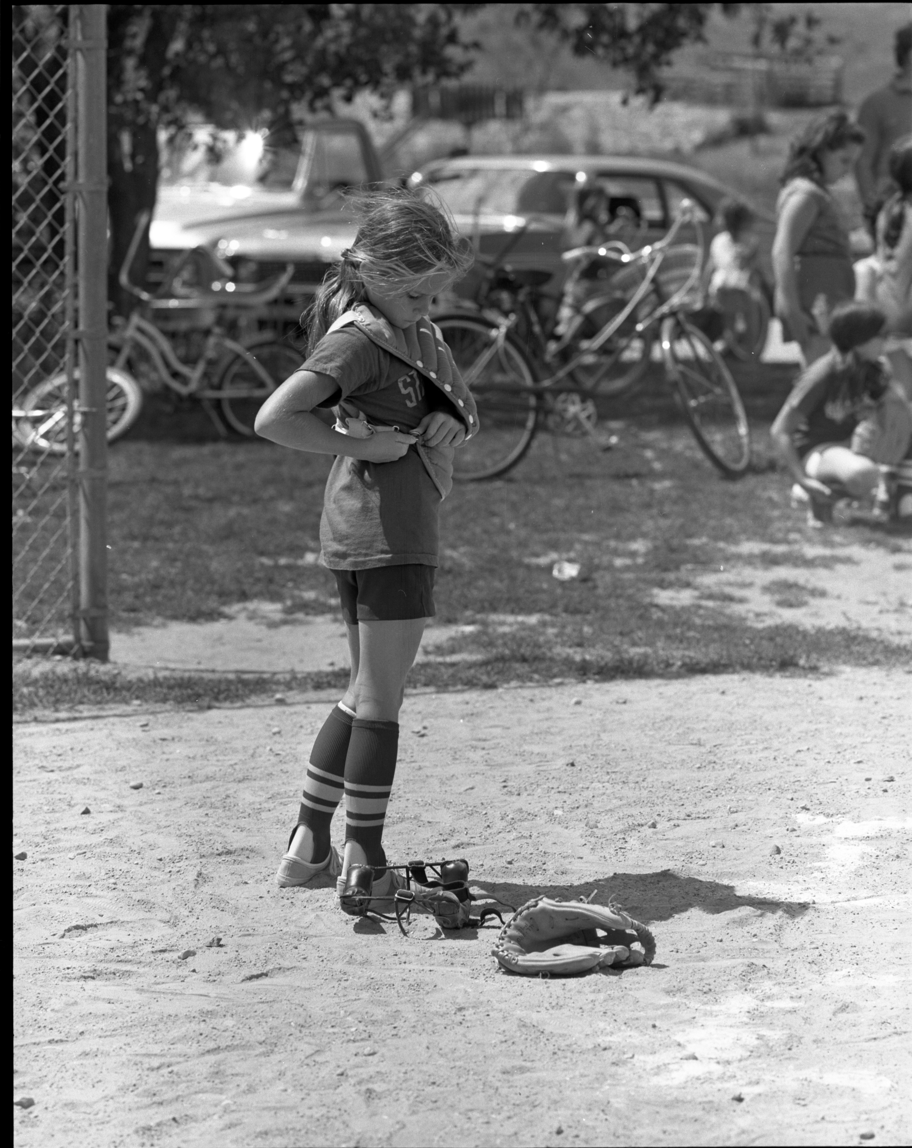 Girls Softball - Wendy Pegan Puts On Her Catcher's Gear, July 1972 image