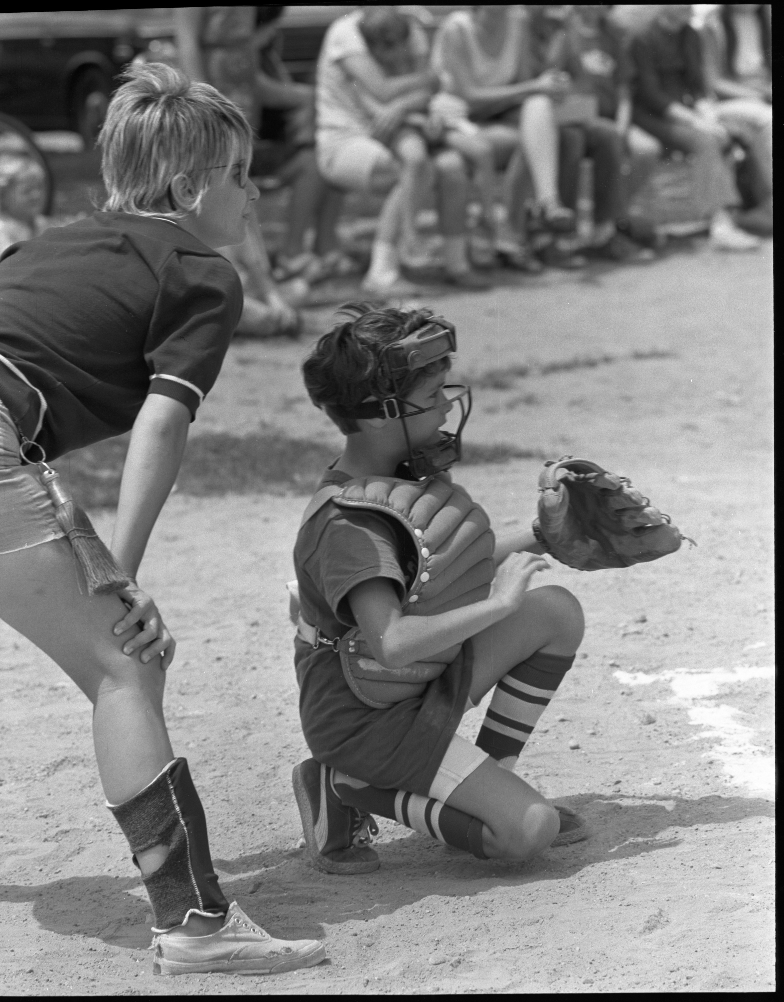 Girls Softball - Kelly Spaulding Waits For The Pitch At Home Plate, July 1972 image