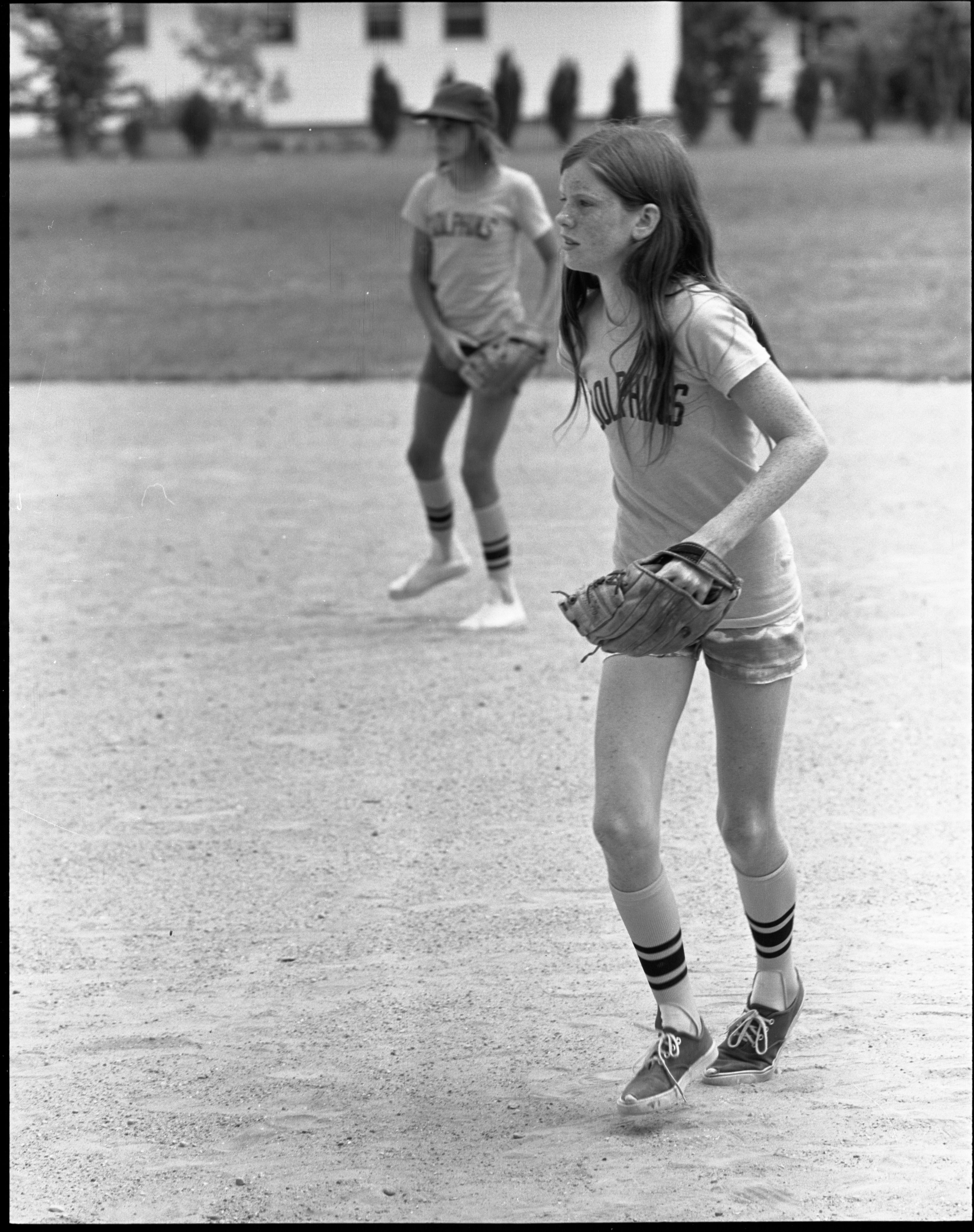 Girls Softball - Dolphins Team Members On The Field, July 1972 image