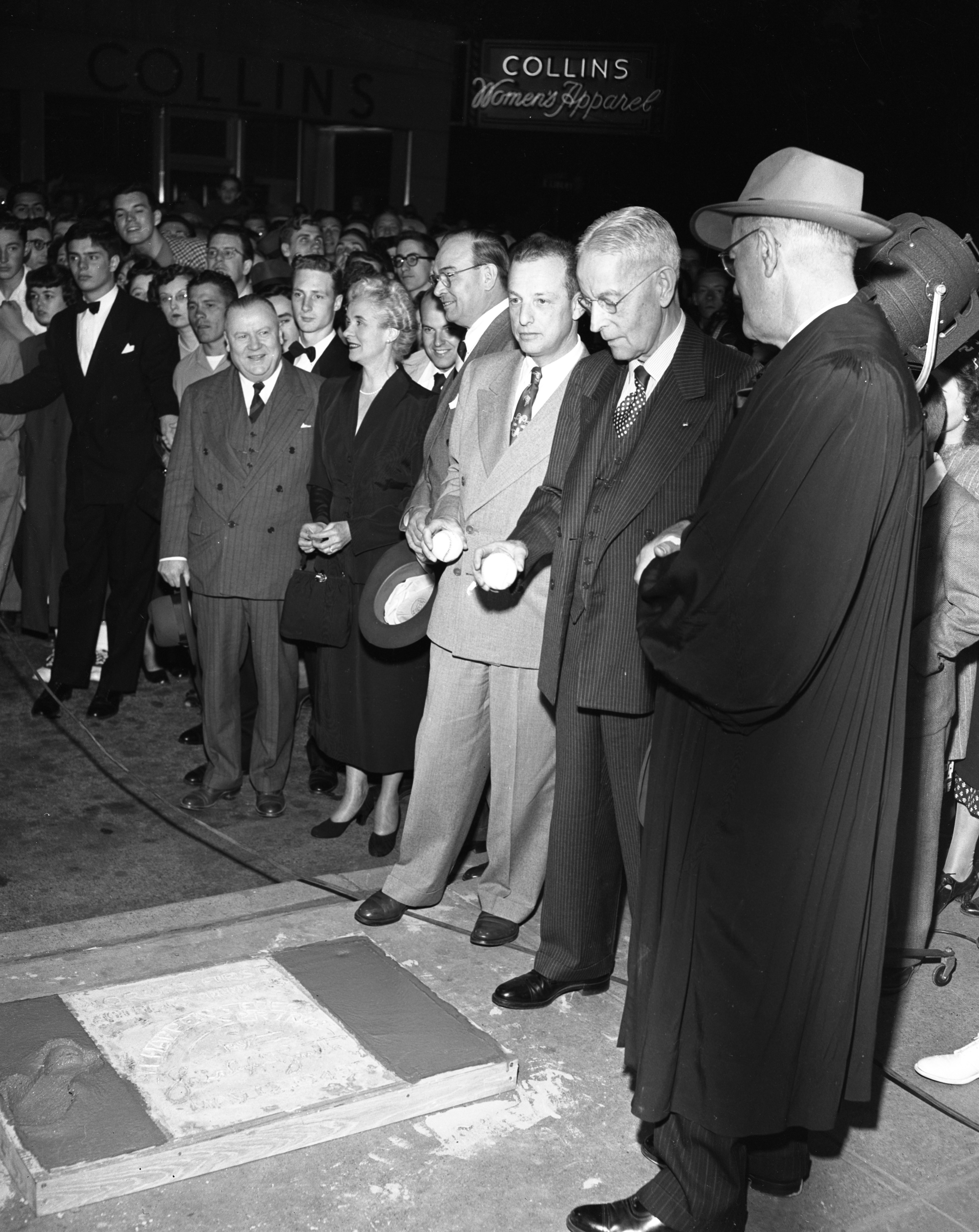 "Local celebrities at the ""author's premiere"" in front of the Michigan Theater, May 1949 image"