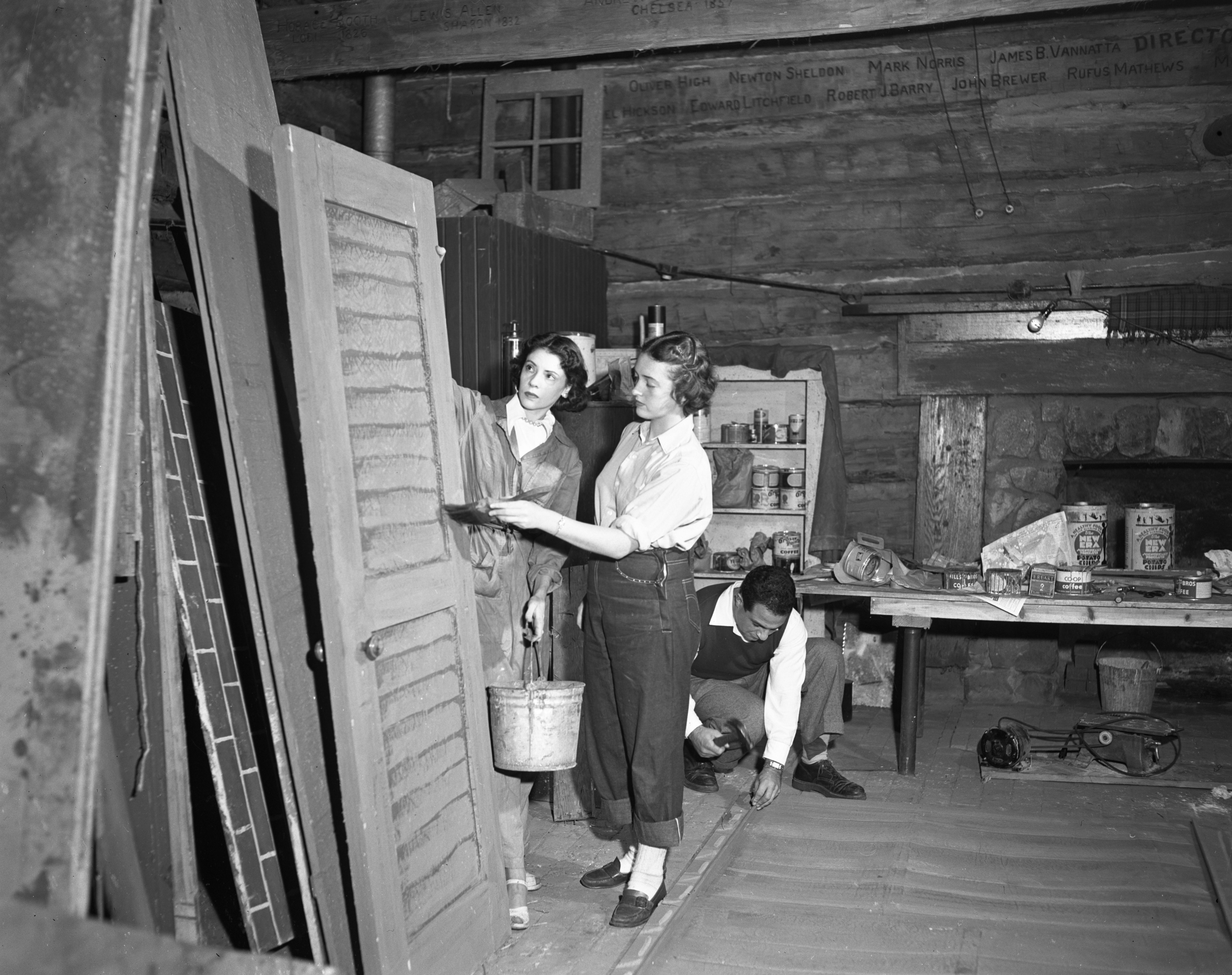 Ann Arbor Civic Theatre Members Prepare Scenery For 'An Inspector Calls,' October 1949 image