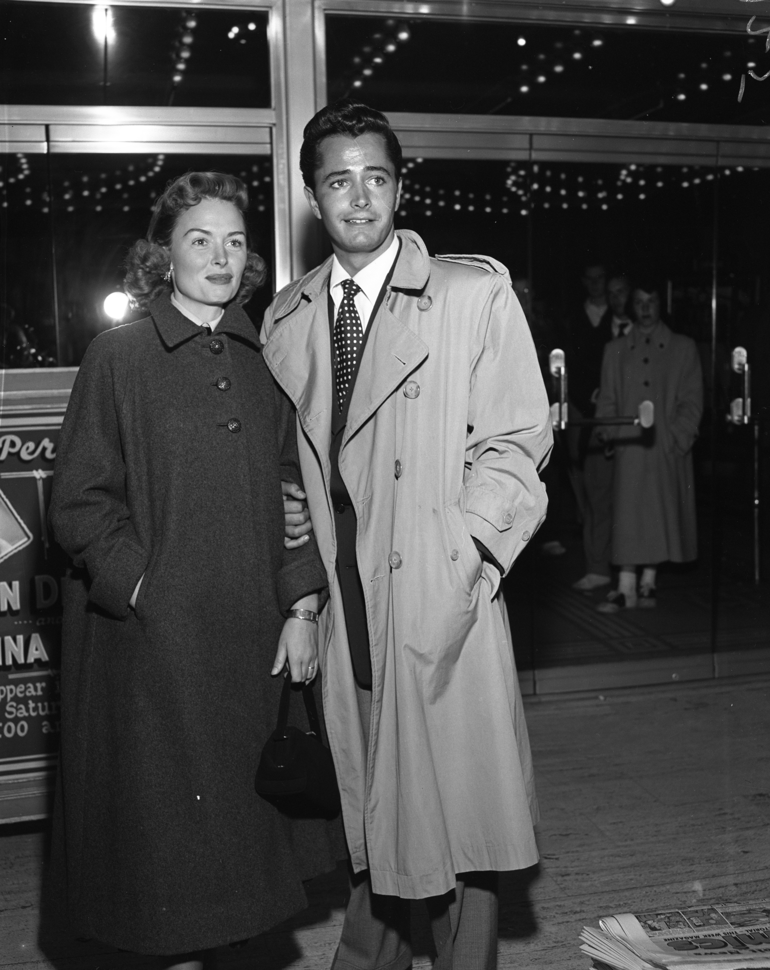 "Actors Donna Reed and John Derek appear at the Michigan Theater for the screening of ""Saturday's Hero,"" September 29, 1951 image"