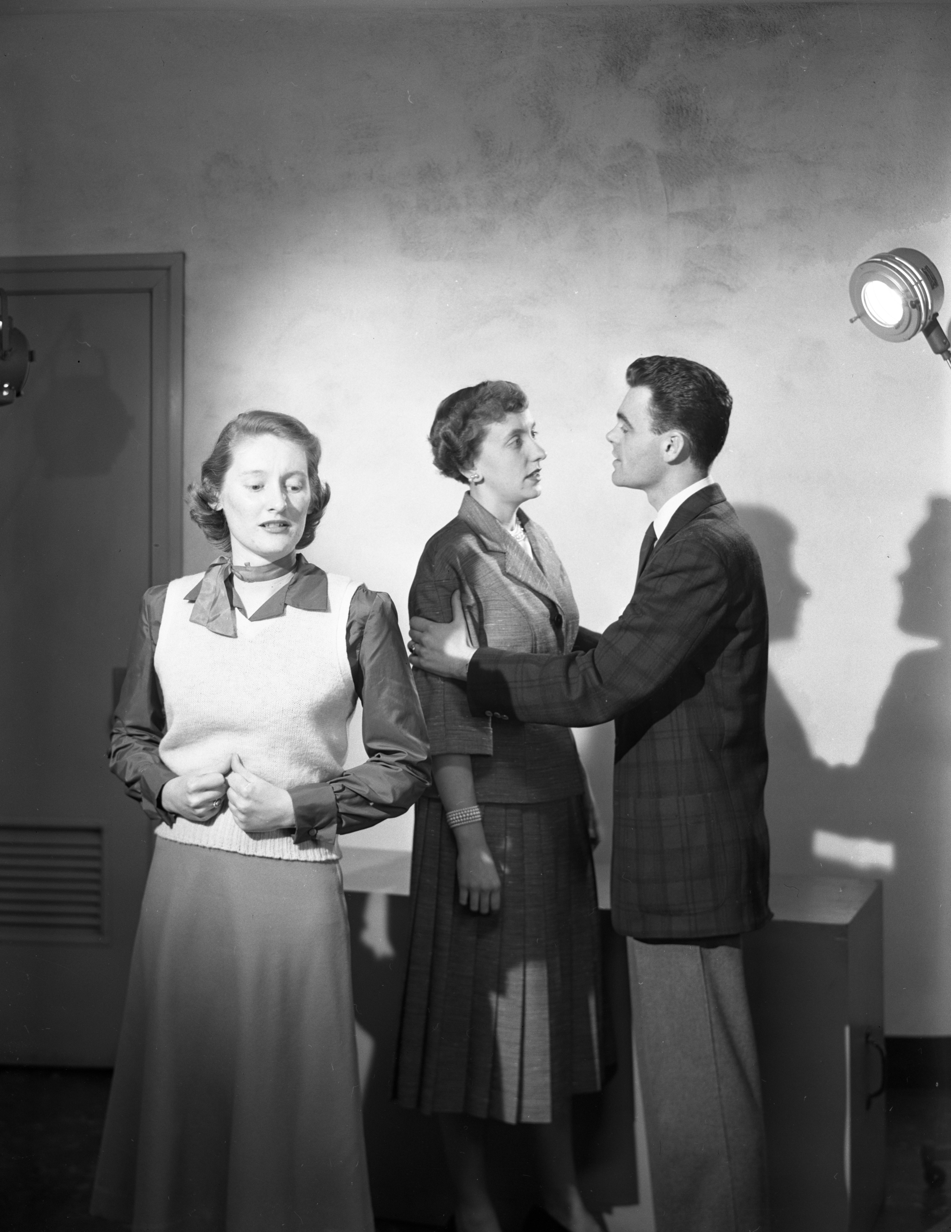 Ann Arbor Civic Theatre Cast Members Rehearse Scene from 'Holiday,' April 1952 image