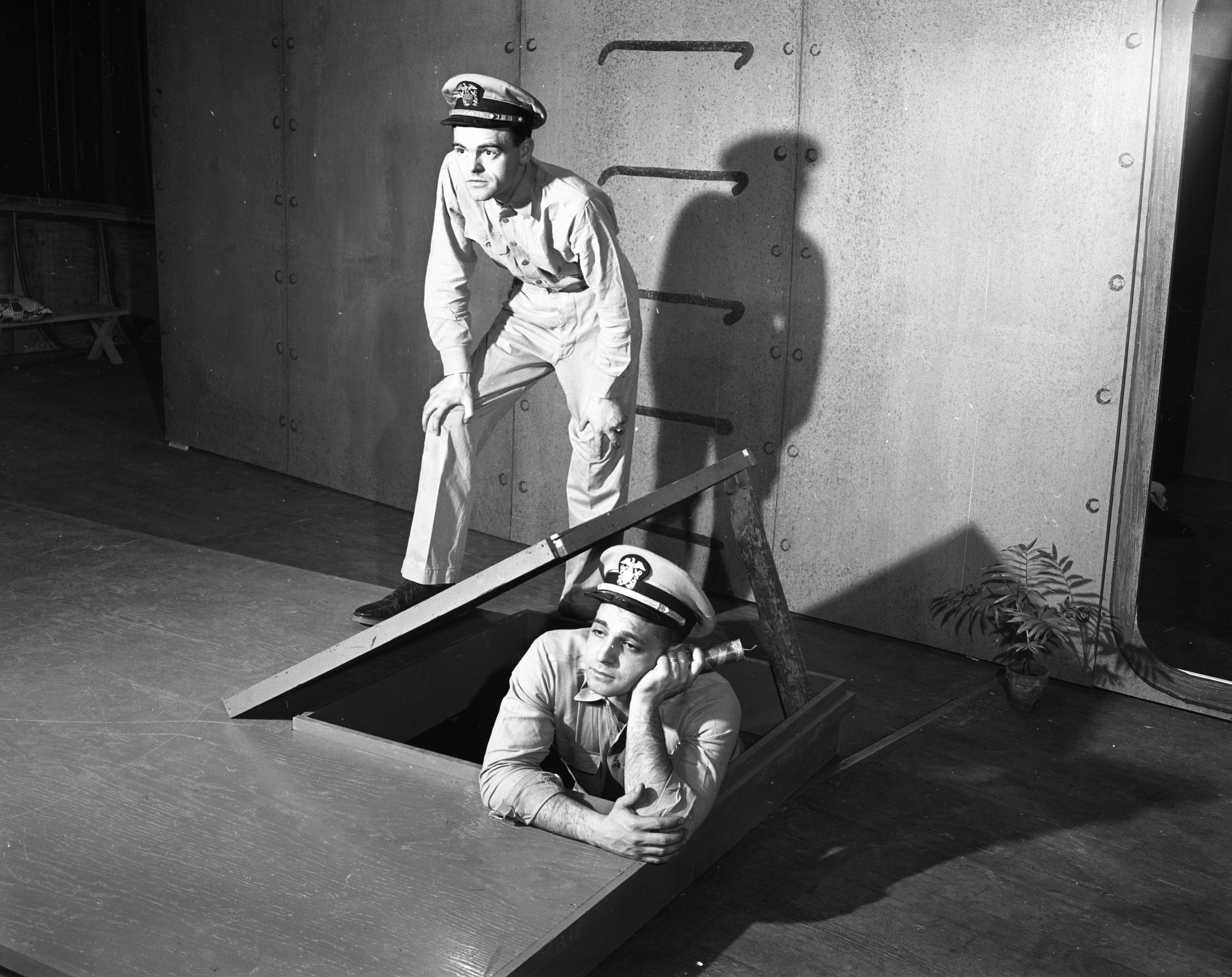 Ann Arbor Civic Theatre Cast Members Rehearse Scene from 'Mister Roberts,' April 1953 image