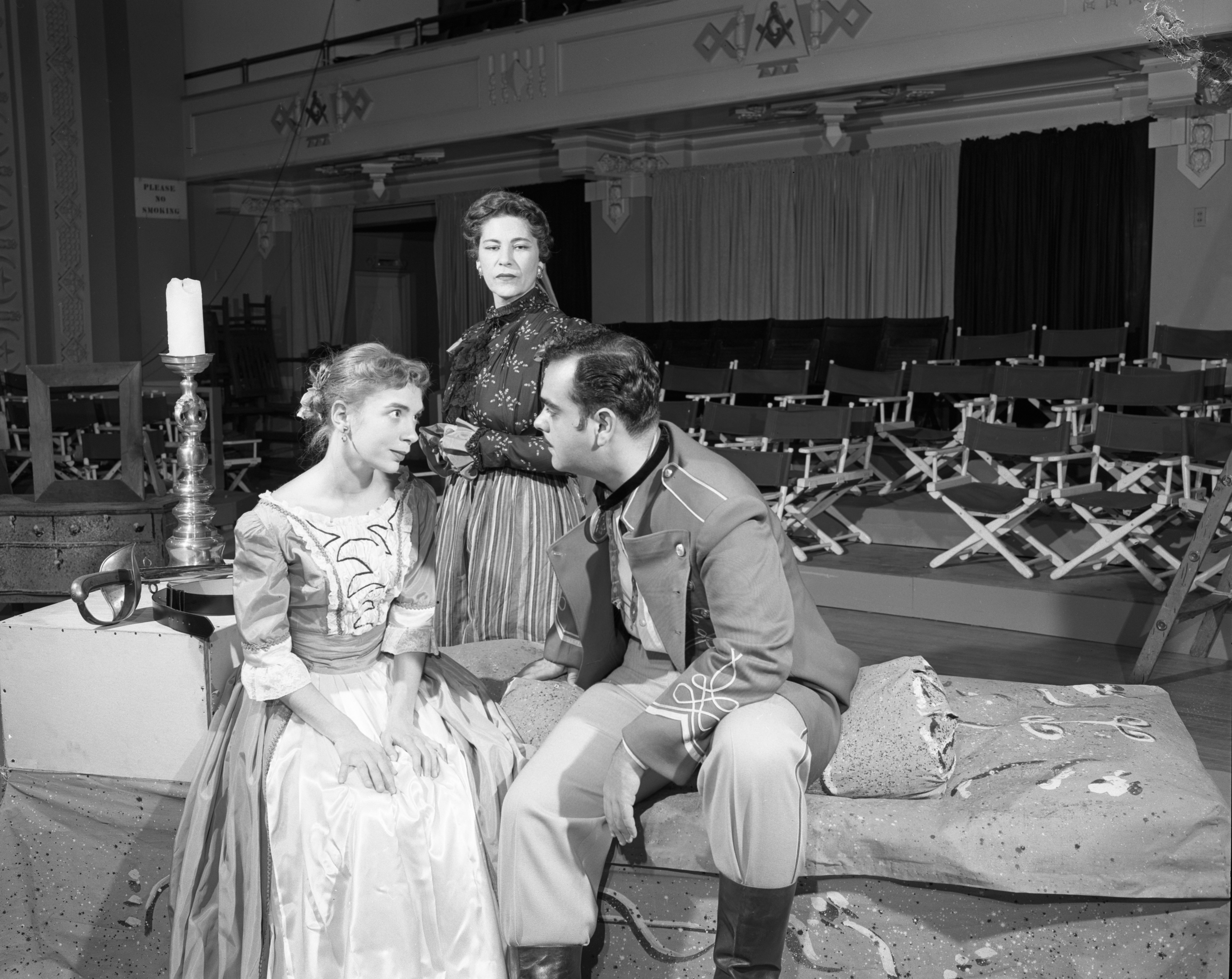 "Irma Lee Hurley, Barbara Lawrence and James Coco rehearse ""Arms and the Man"" at the Masonic Temple, October 1954 image"