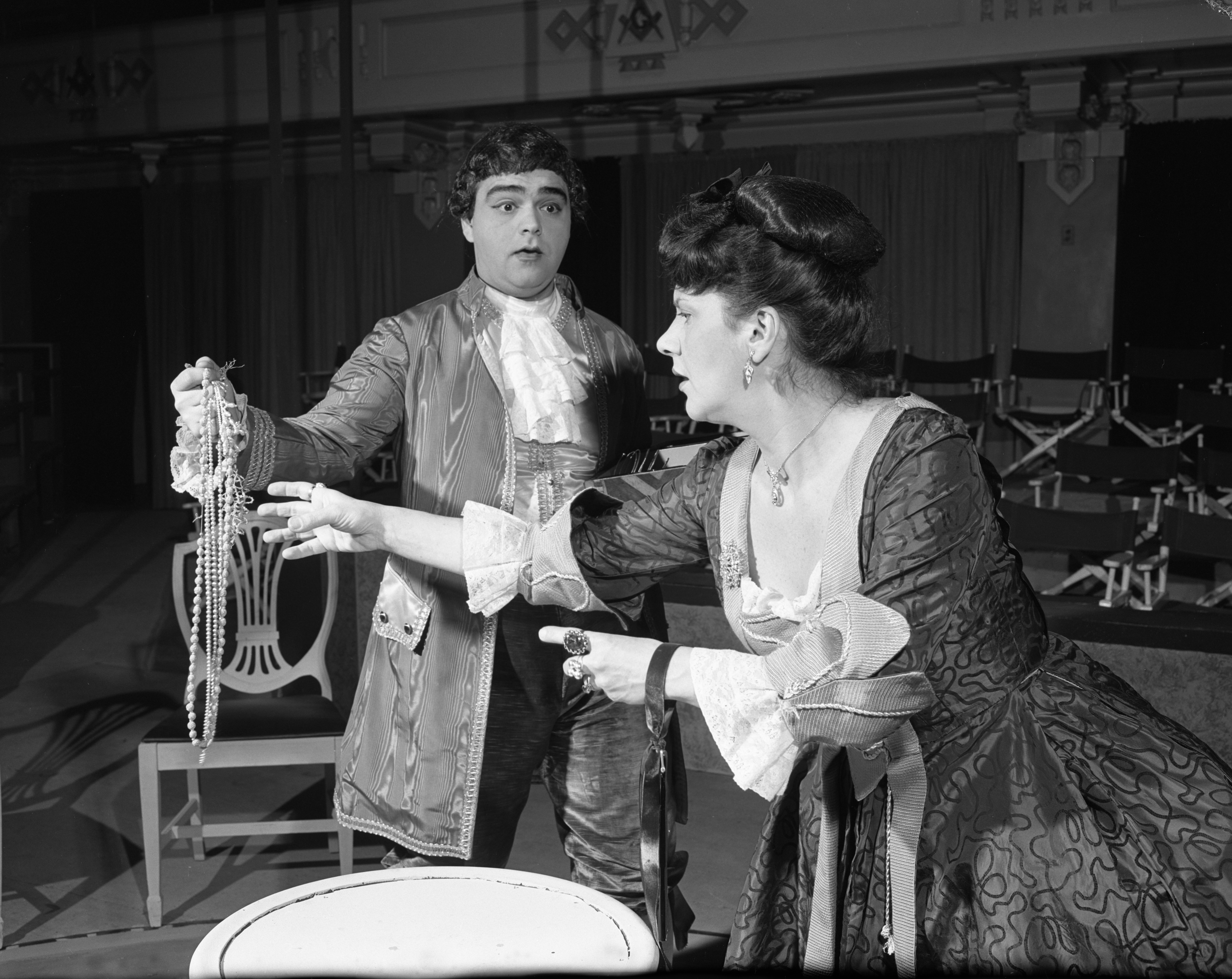 "Actors James Coco and Ruth Volner in Ann Arbor Dramatic Arts Center's ""She Stoops to Conquer,"" at the Masonic Temple, December 1954 image"