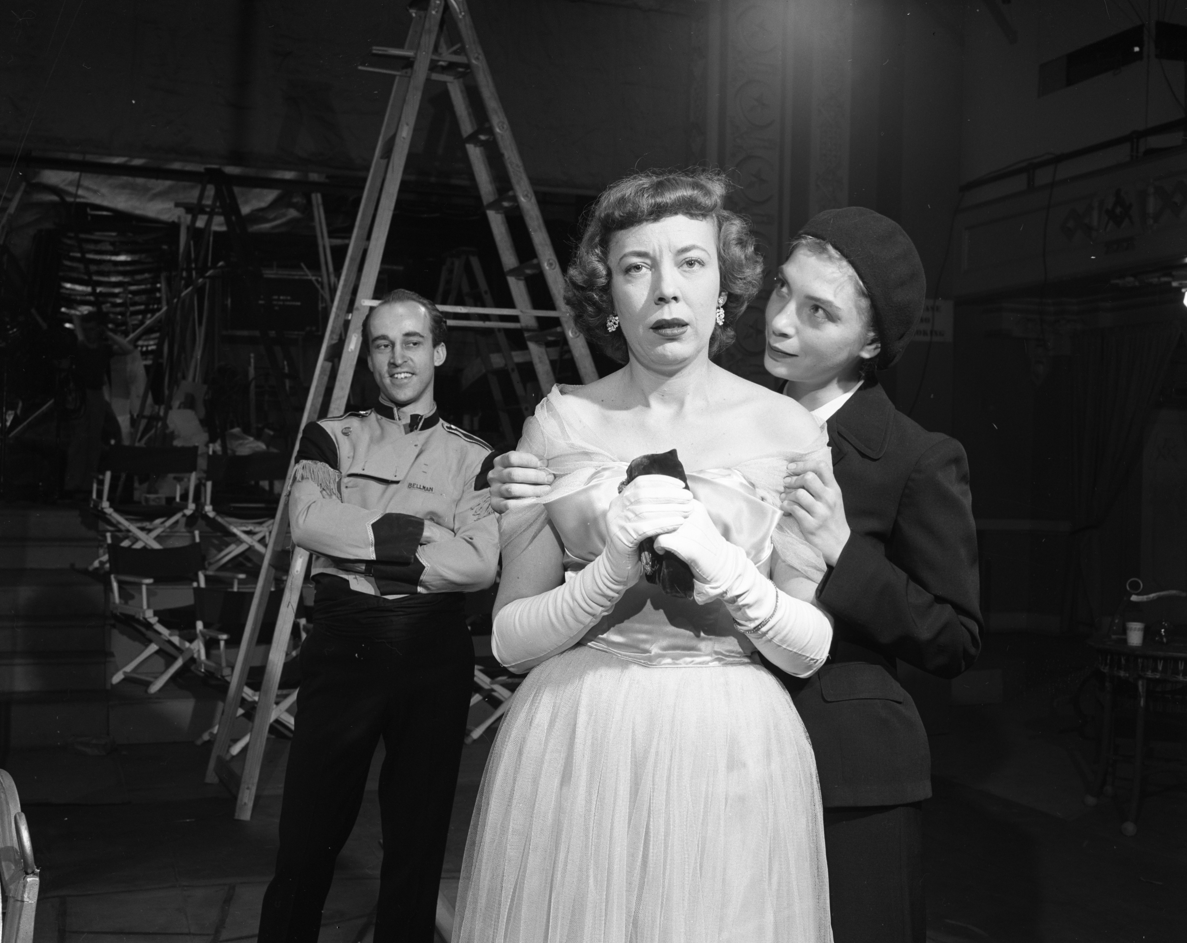 "Dramatic Arts Theater stages a scene from Sartre's ""No Exit,"" March 1955 image"
