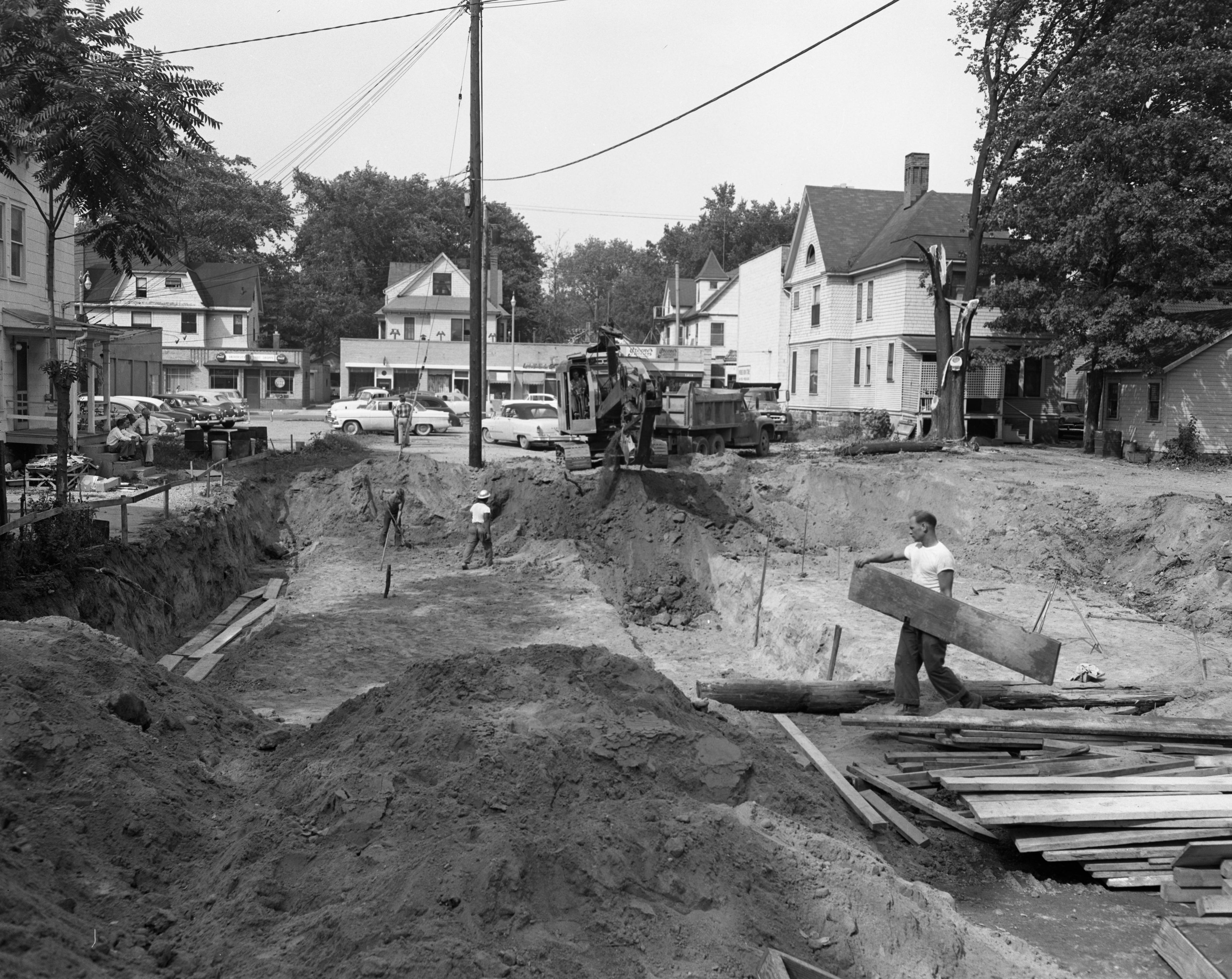 Construction starts on future Campus Theater at 1208 S. University, September 1956 image