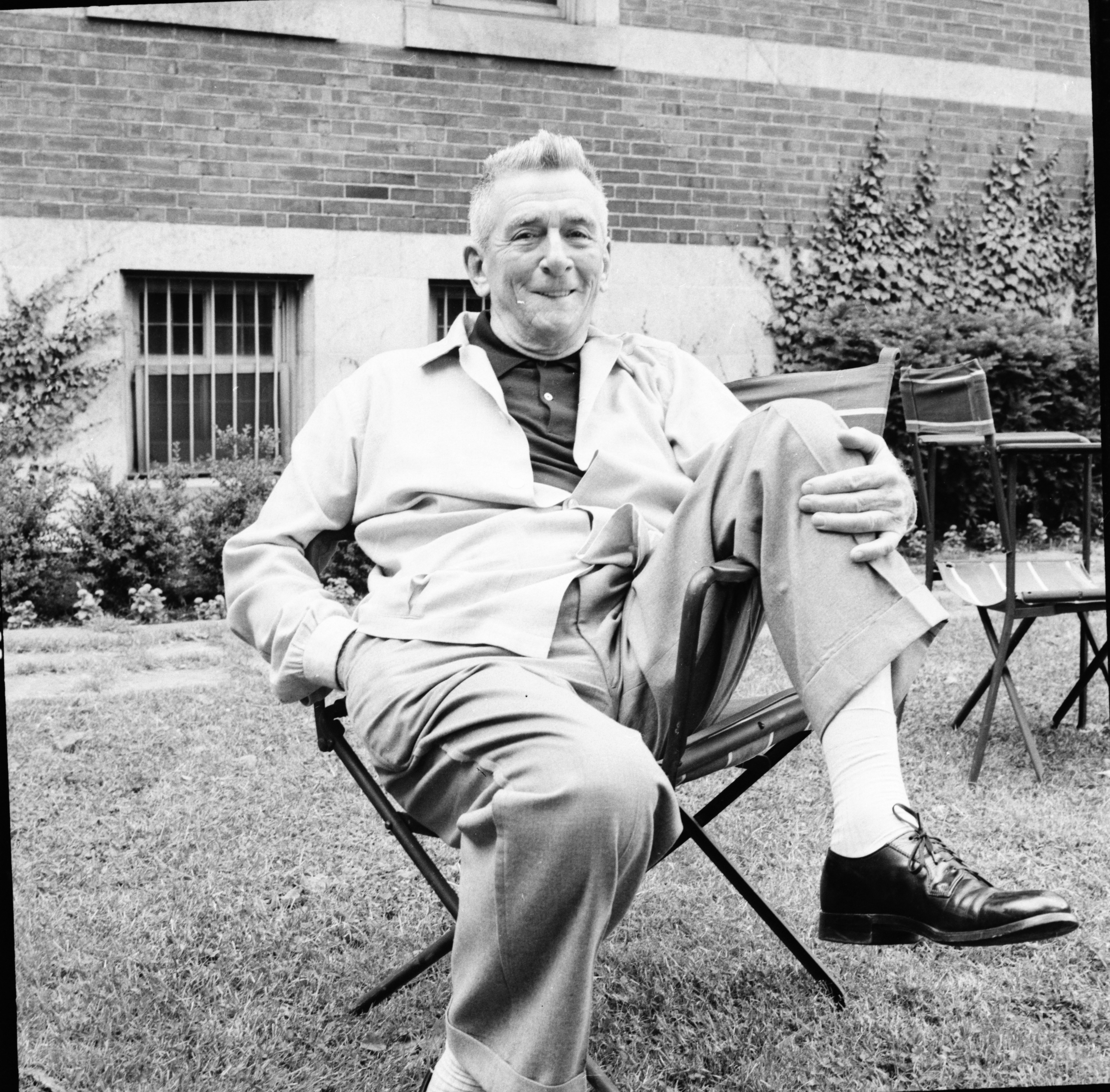Actor Edward Everett Horton, in Michigan League garden, June 1957 image