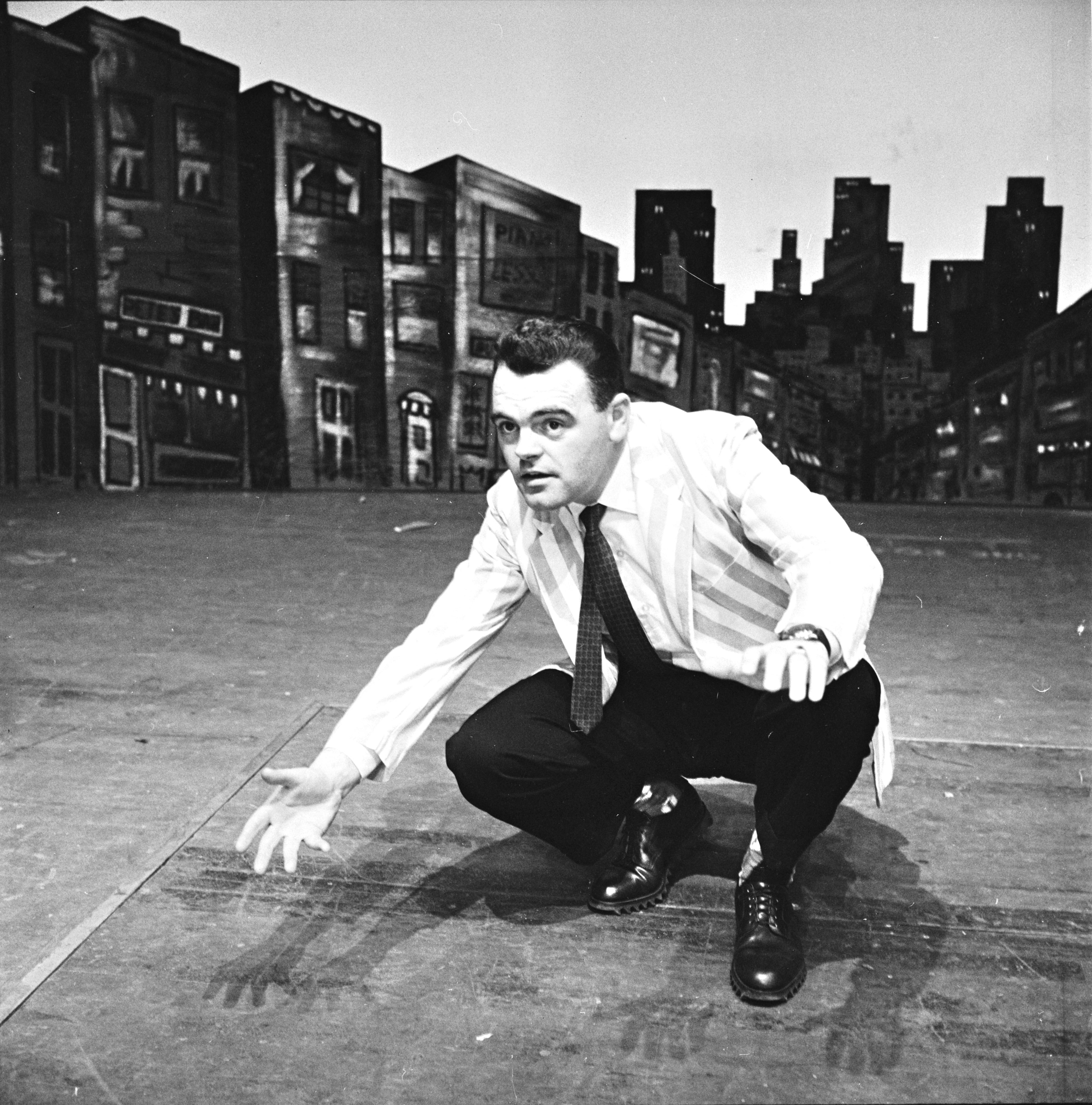 Ann Arbor Civic Theatre Cast Member Kenneth H. MacDonald Rehearses 'Guys and Dolls,' January 1958 image