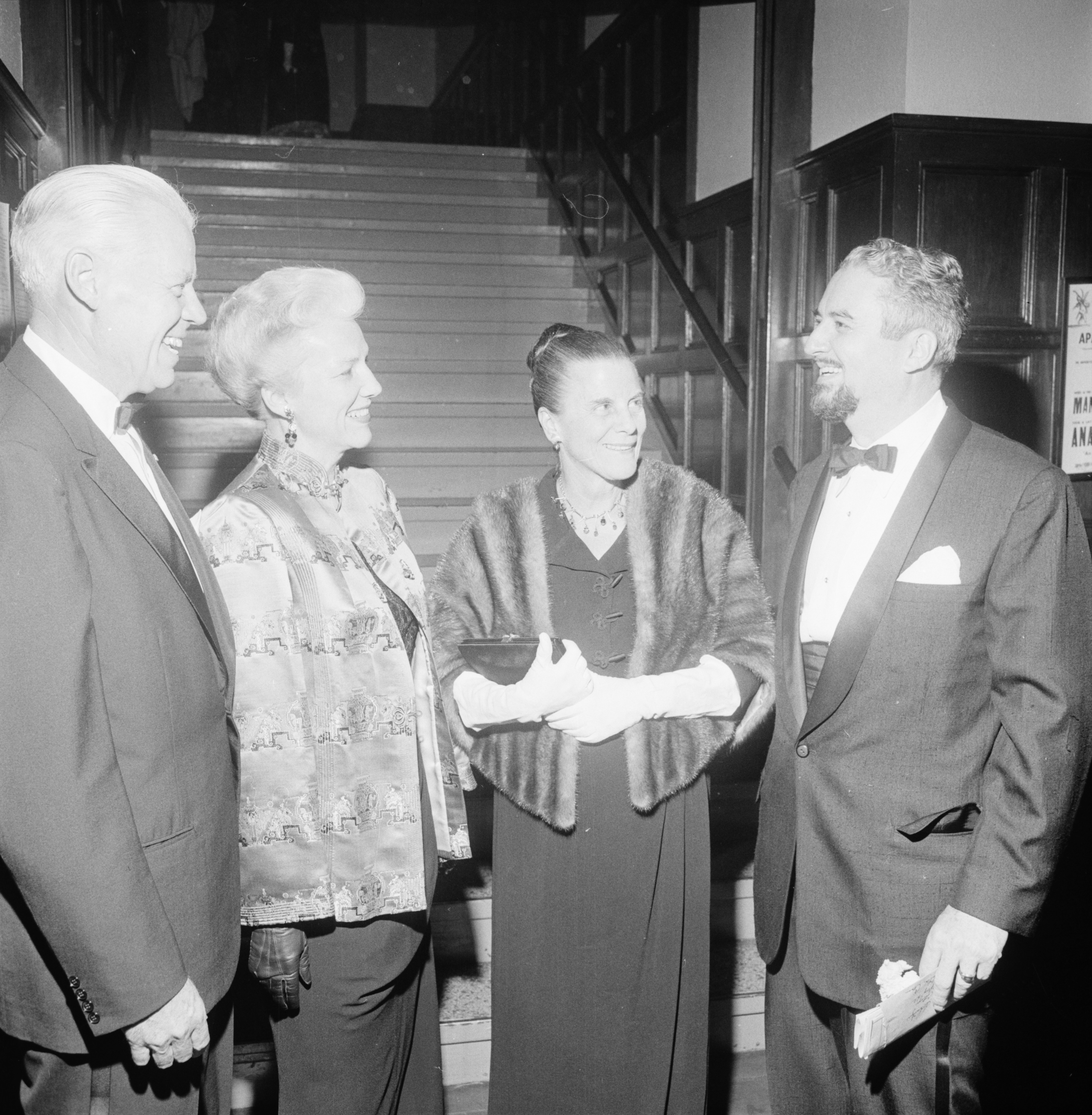 "U-M President Harlan Hatcher, wife Anne, Professor Robert C. Schnitzer, at the new Professional Theater Program's preview of ""The School for Scandal,"" October 1962 image"