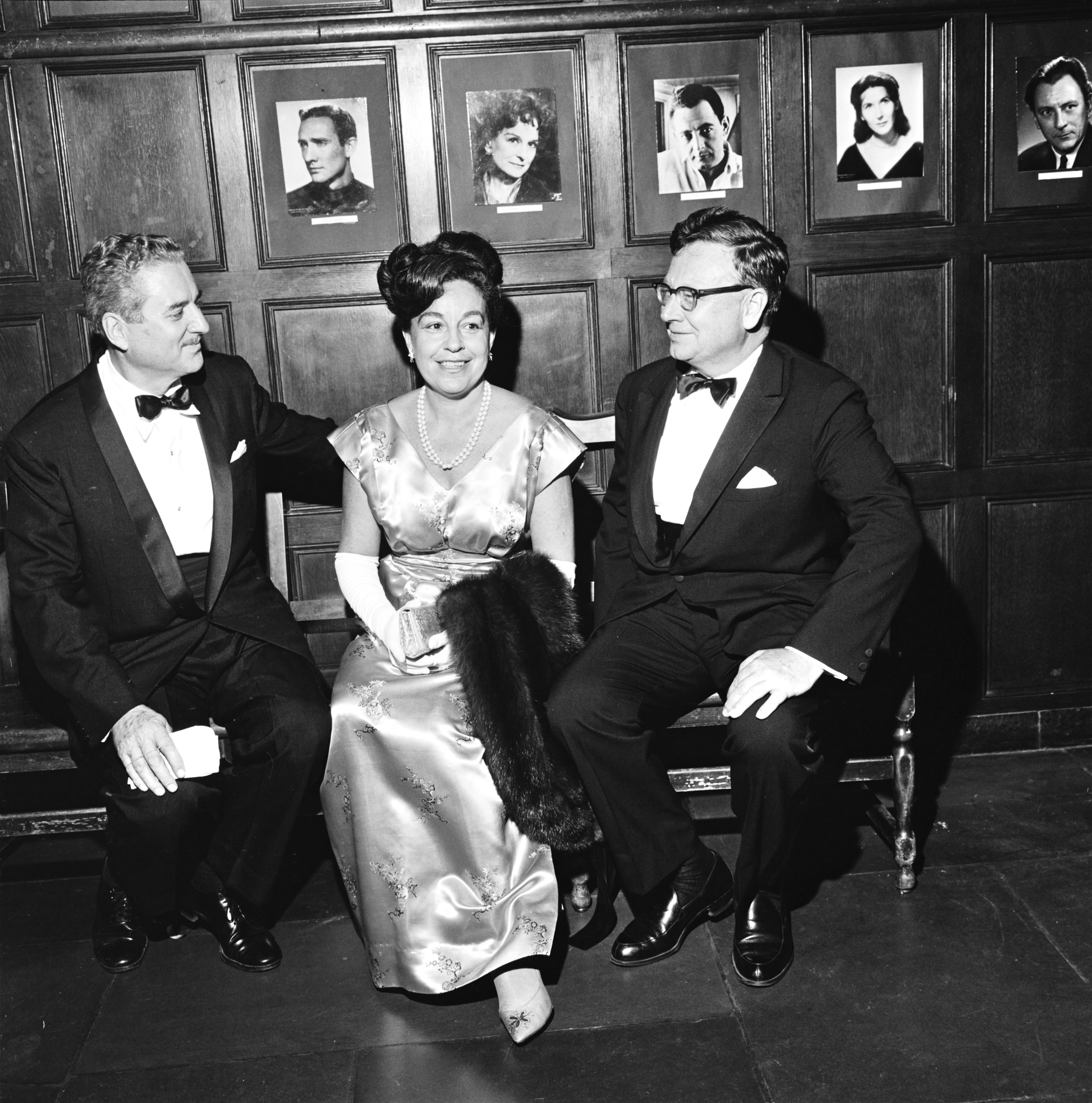 "Robert C. Schnitzer, Marcella Cisney and T. Edward Hambleton at the opening of the Association of Producing Artists' production of ""War and Peace,"" September 1964 image"