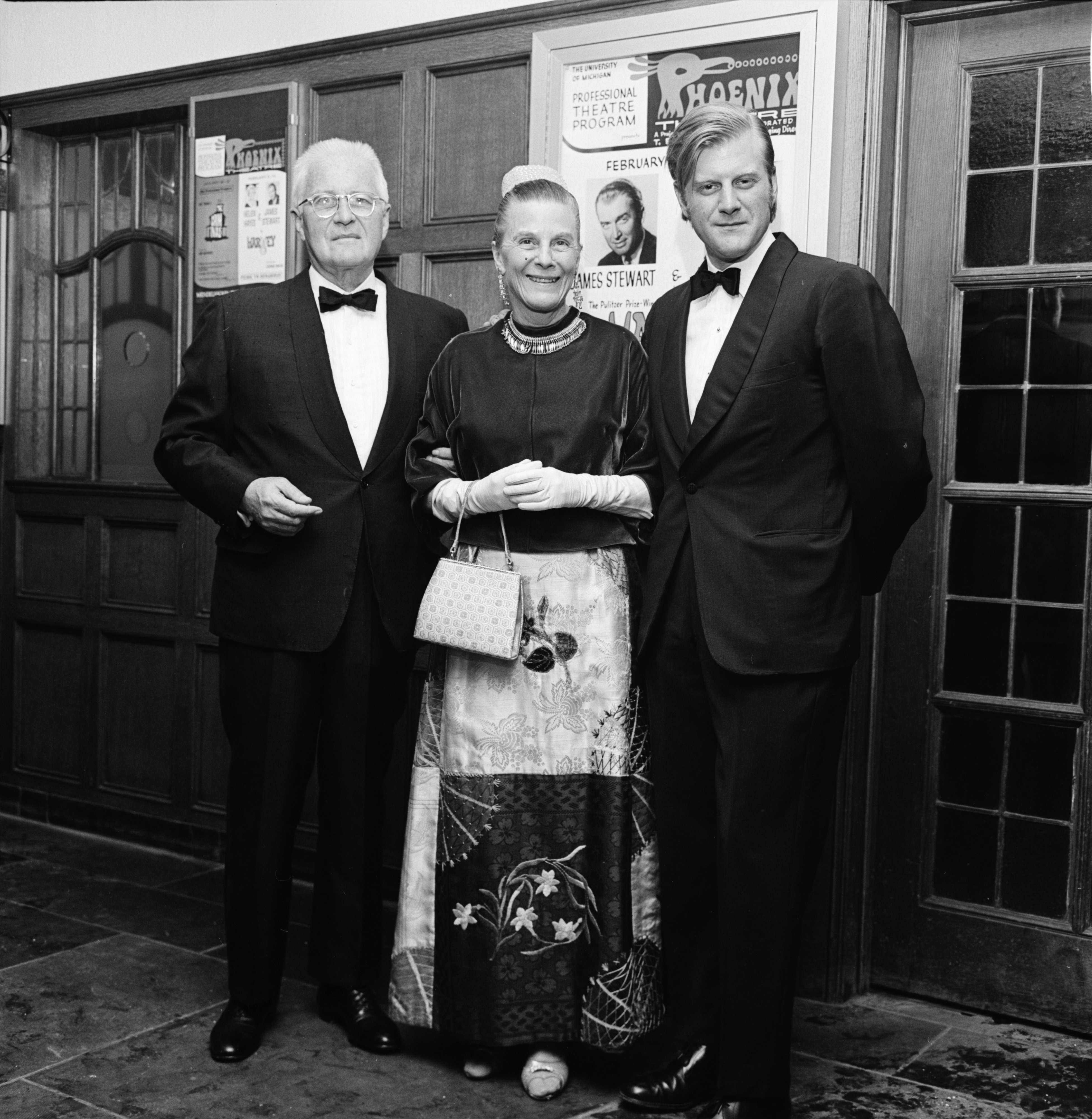 "Eugene Power, wife Sadye, and son Philip Arrive at the Lydia Mendelssohn Theatre, Opening Night for ""Harvey,"" February 1970 image"