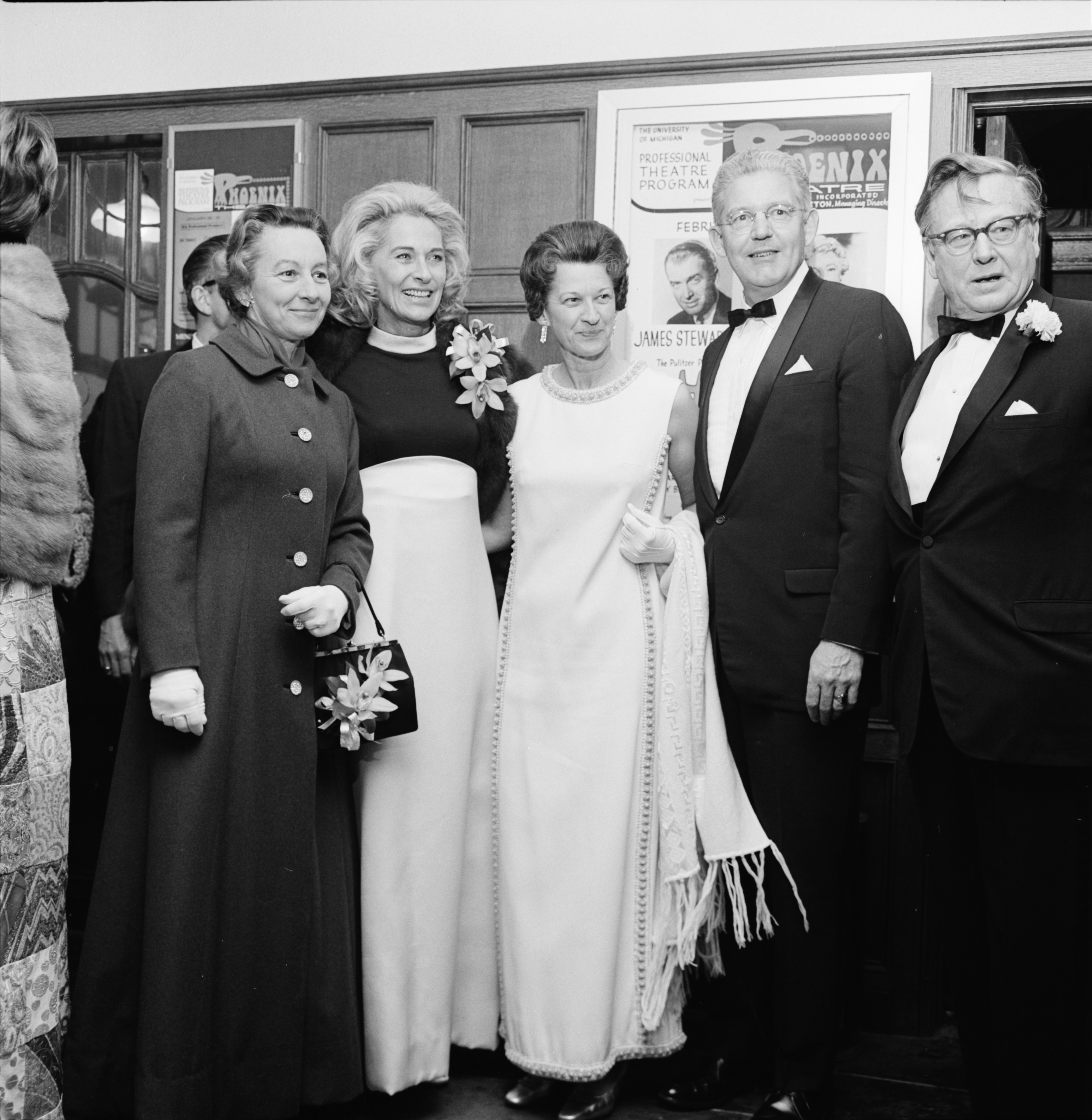 "University President Robben W. Fleming and Distinguished Guests, including Gloria Stewart, wife of actor Jimmy Stewart, at opening of ""Harvey,"" February 1970 image"