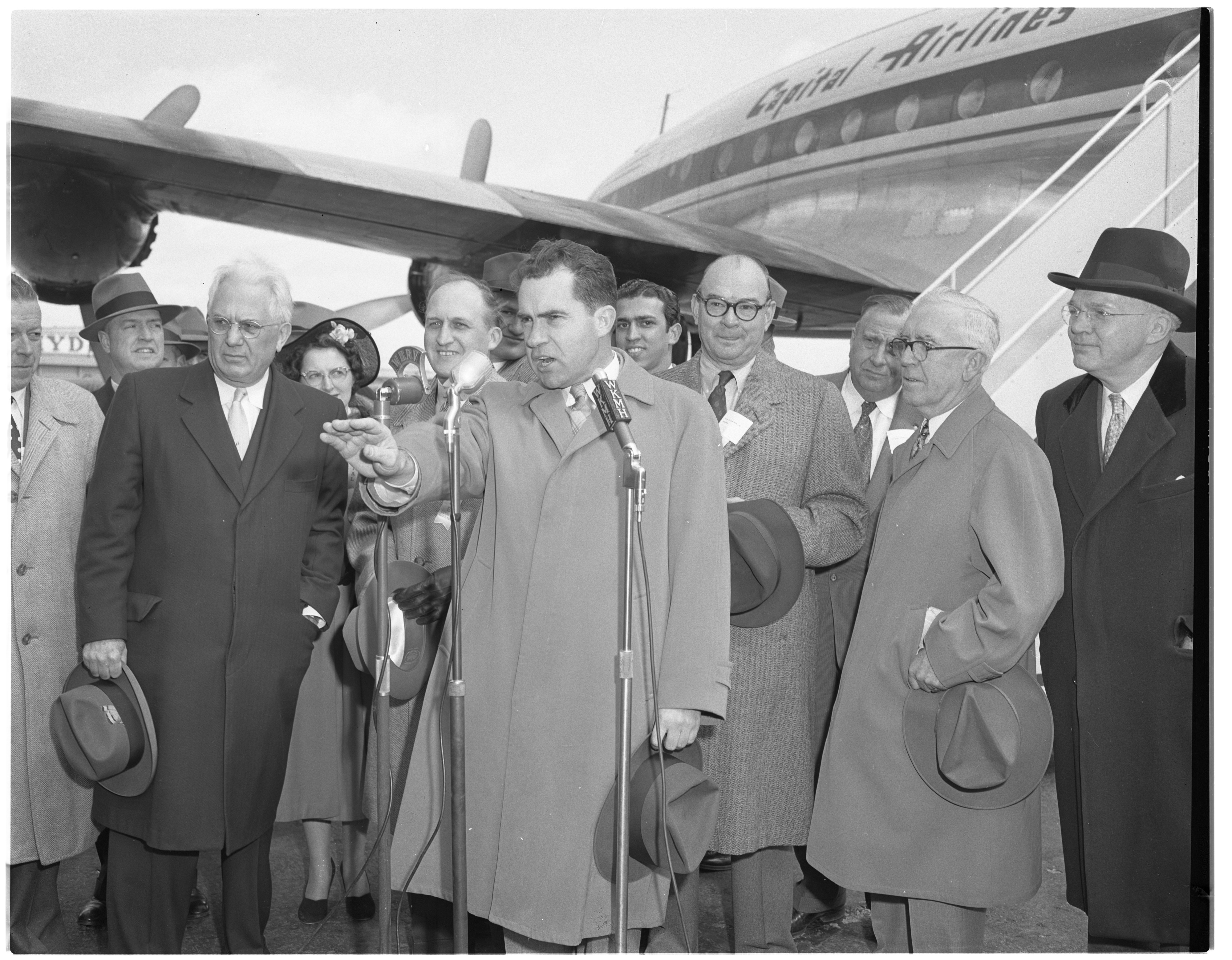 Vice President Richard M. Nixon Talks to the Crowd at Willow Run Airport, April 1954 image