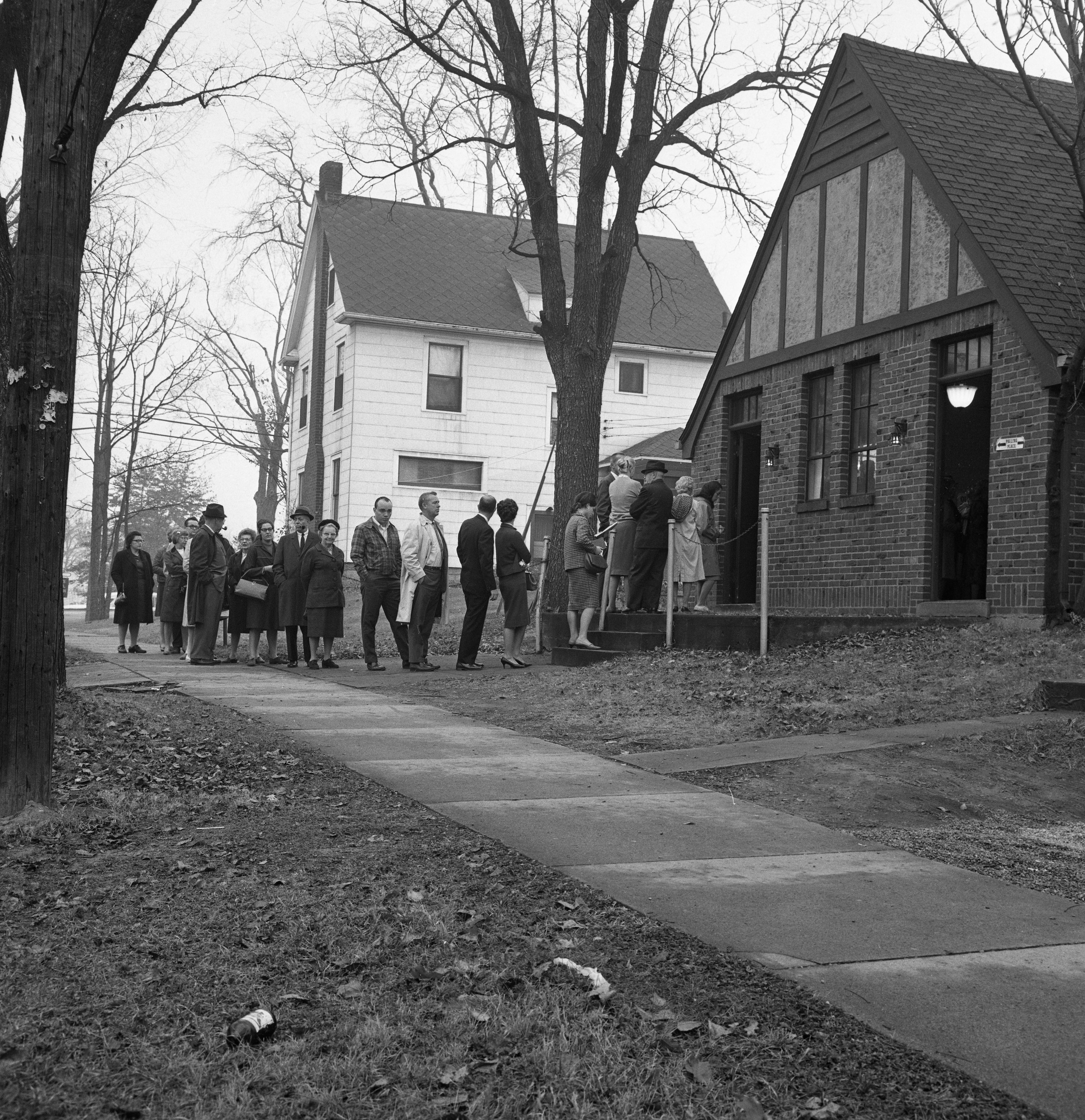 Long Line at Ann Arbor Forest Avenue Polling Location In 1964 Presidential Election, November 1964 image