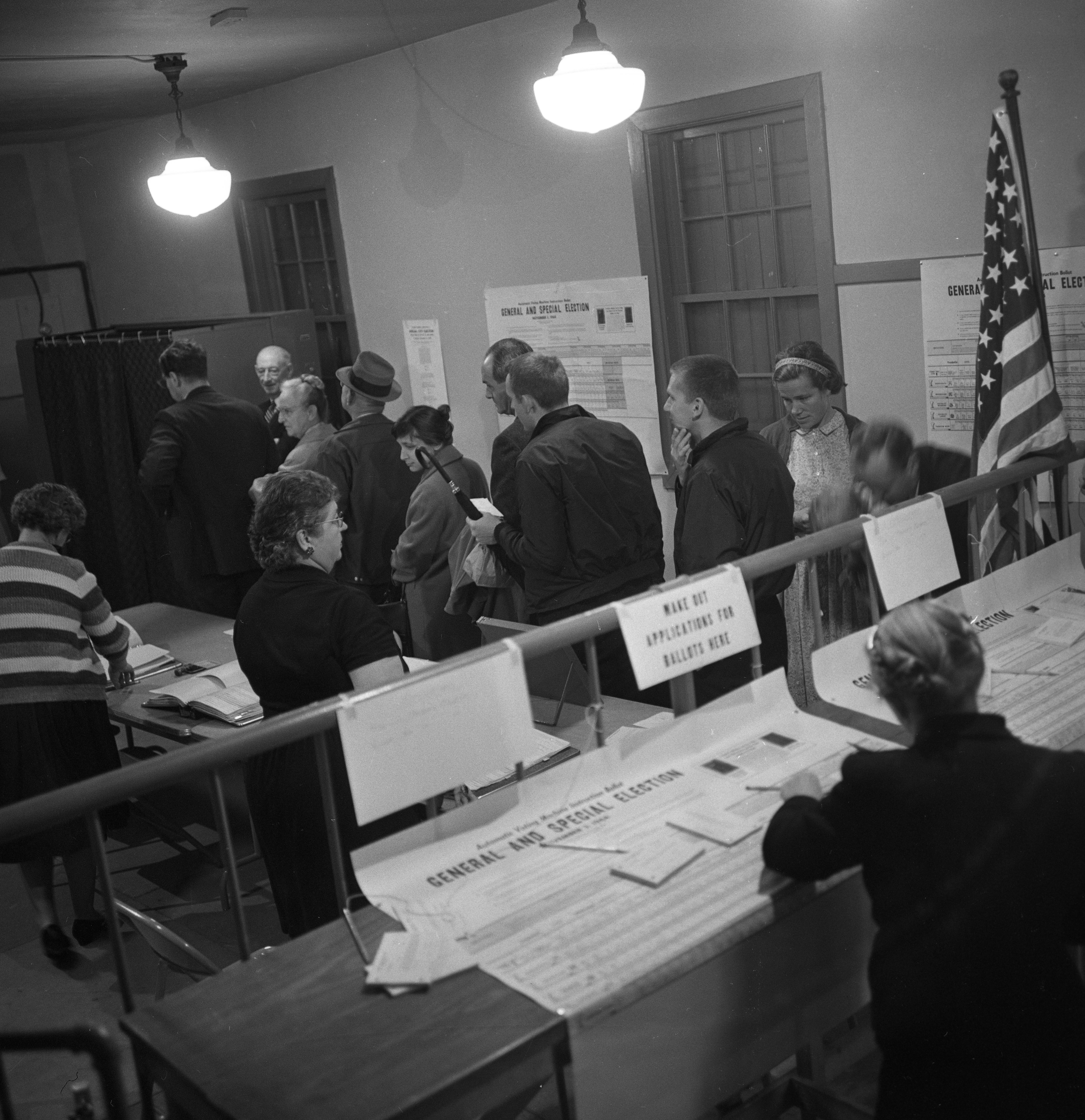 Busy Poll Workers at Ann Arbor Mary St. Polling Place In 1964 Presidential Election, November 1964 image