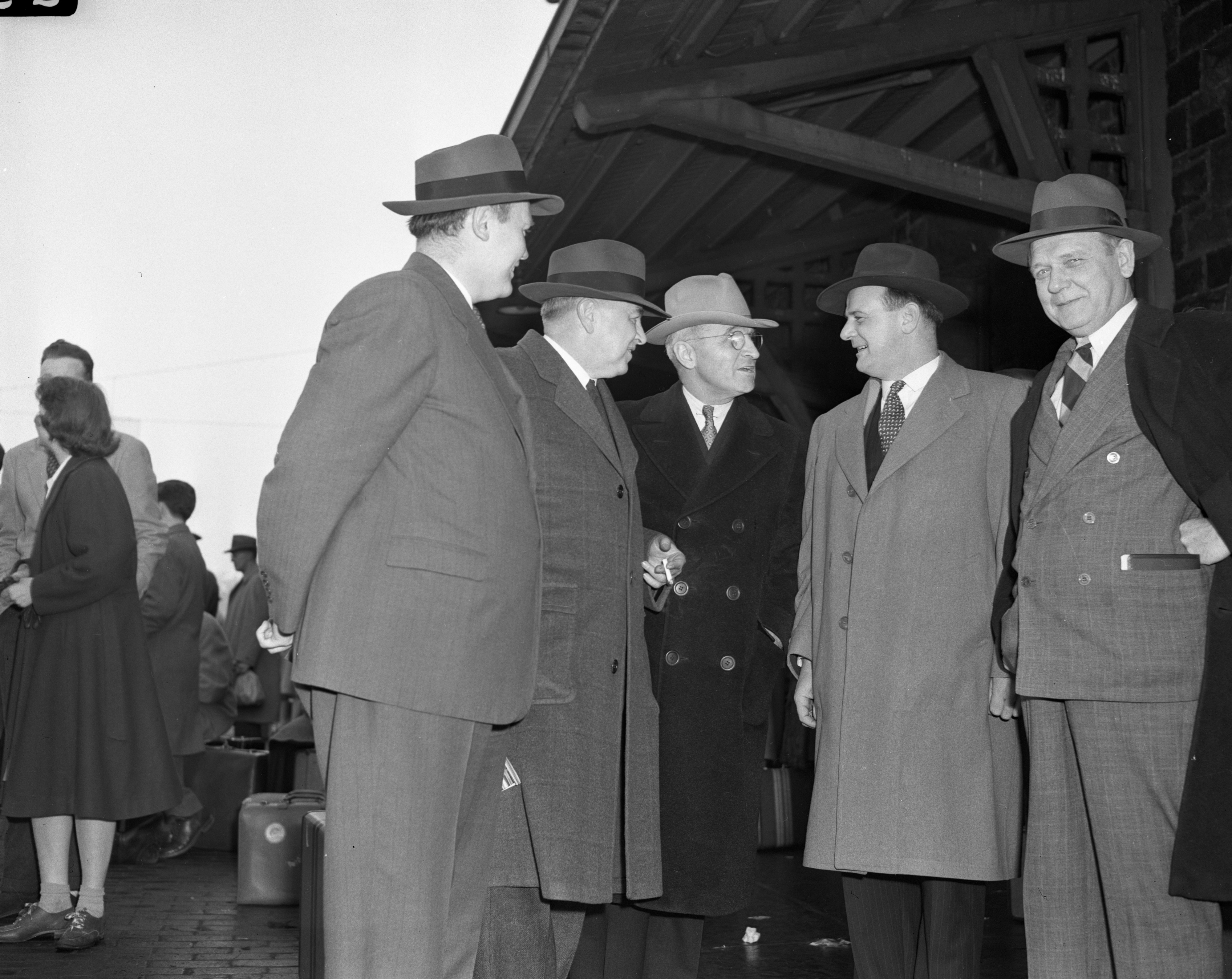 The War Production Investigating Committee visits Willow Run Bomber Plant (l to r), Hugh Fulton, Harley M. Kilgore, Harry S. Truman, George Meader, and Mon C. Wallgren, February 1943 image