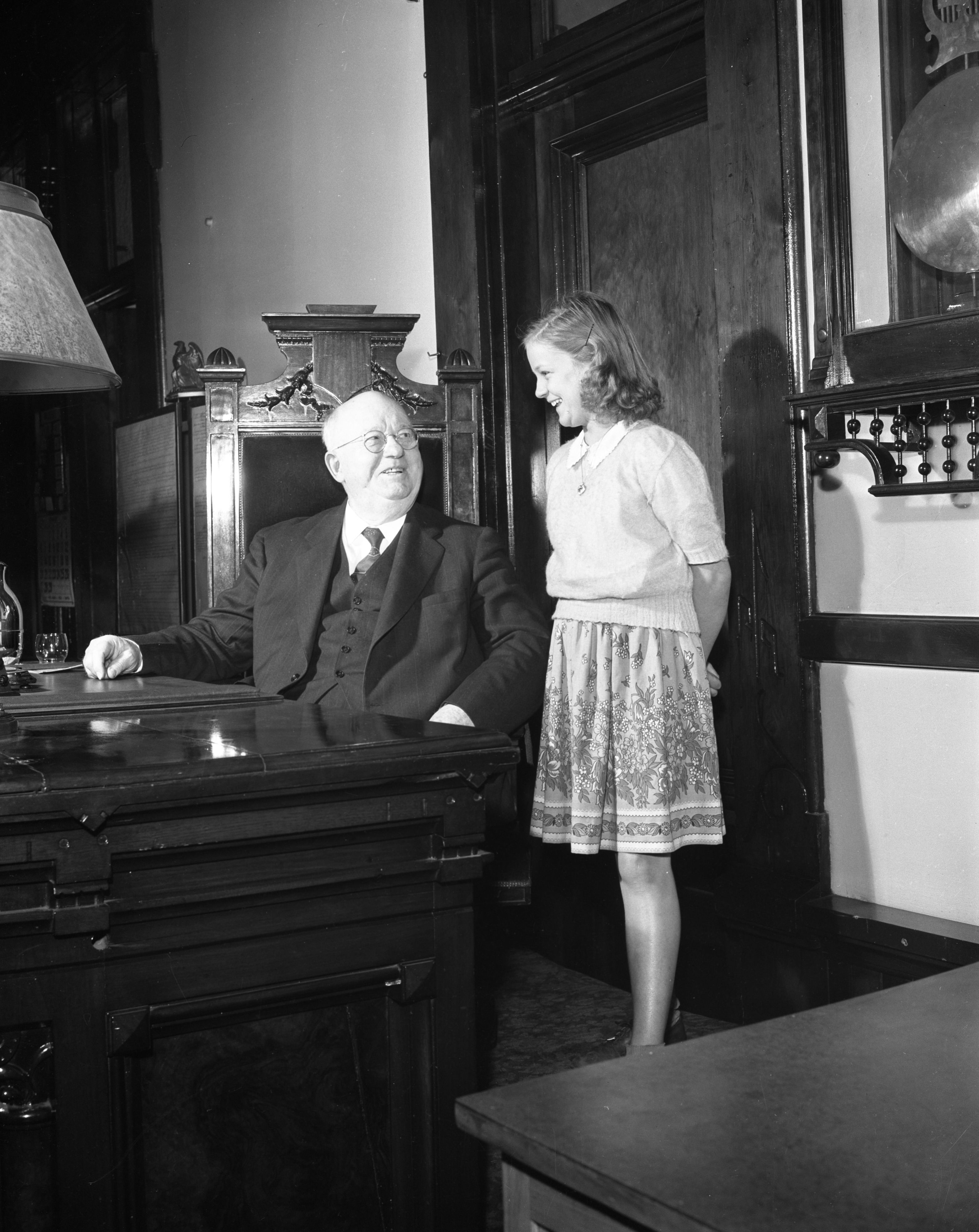 Judge George W. Sample Welcomes New U.S. Citizen Miss Johnstone, 1944 image
