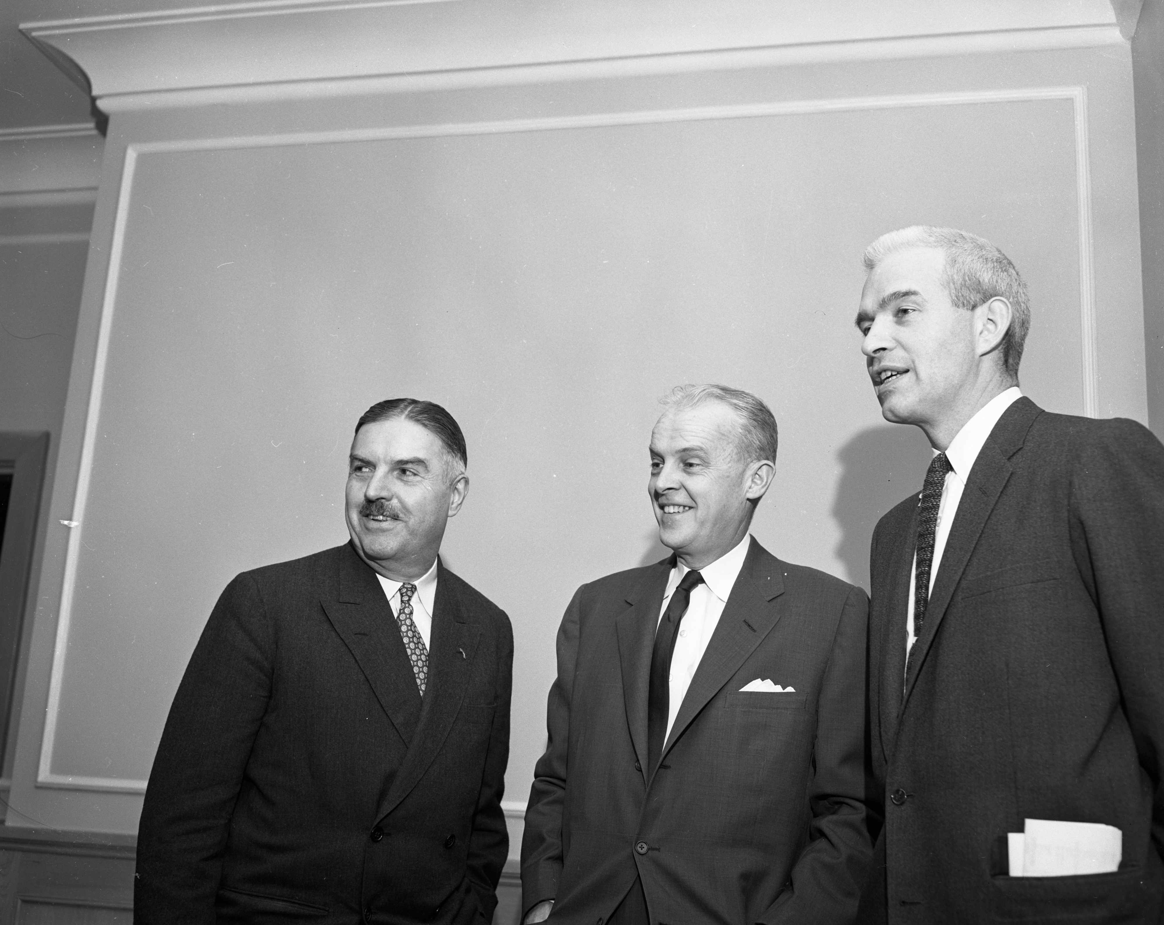 Democrats Paul Butler, Neil Staebler and Thomas Quimby at a three-day session of the National Advisory Committee on Political Organization, December 1956 image