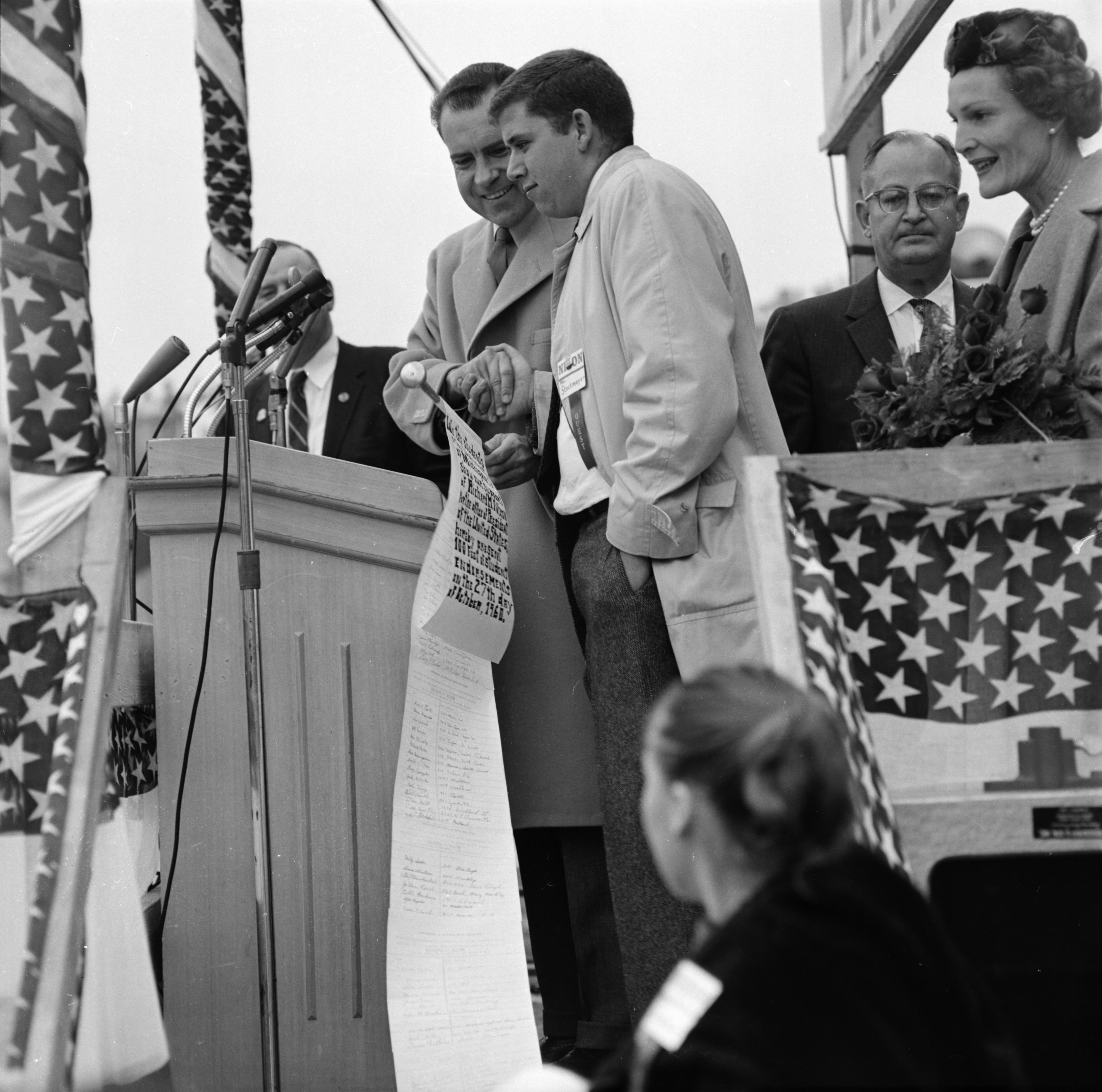 Richard Nixon with scroll signed by student supporters, October 27, 1960 image