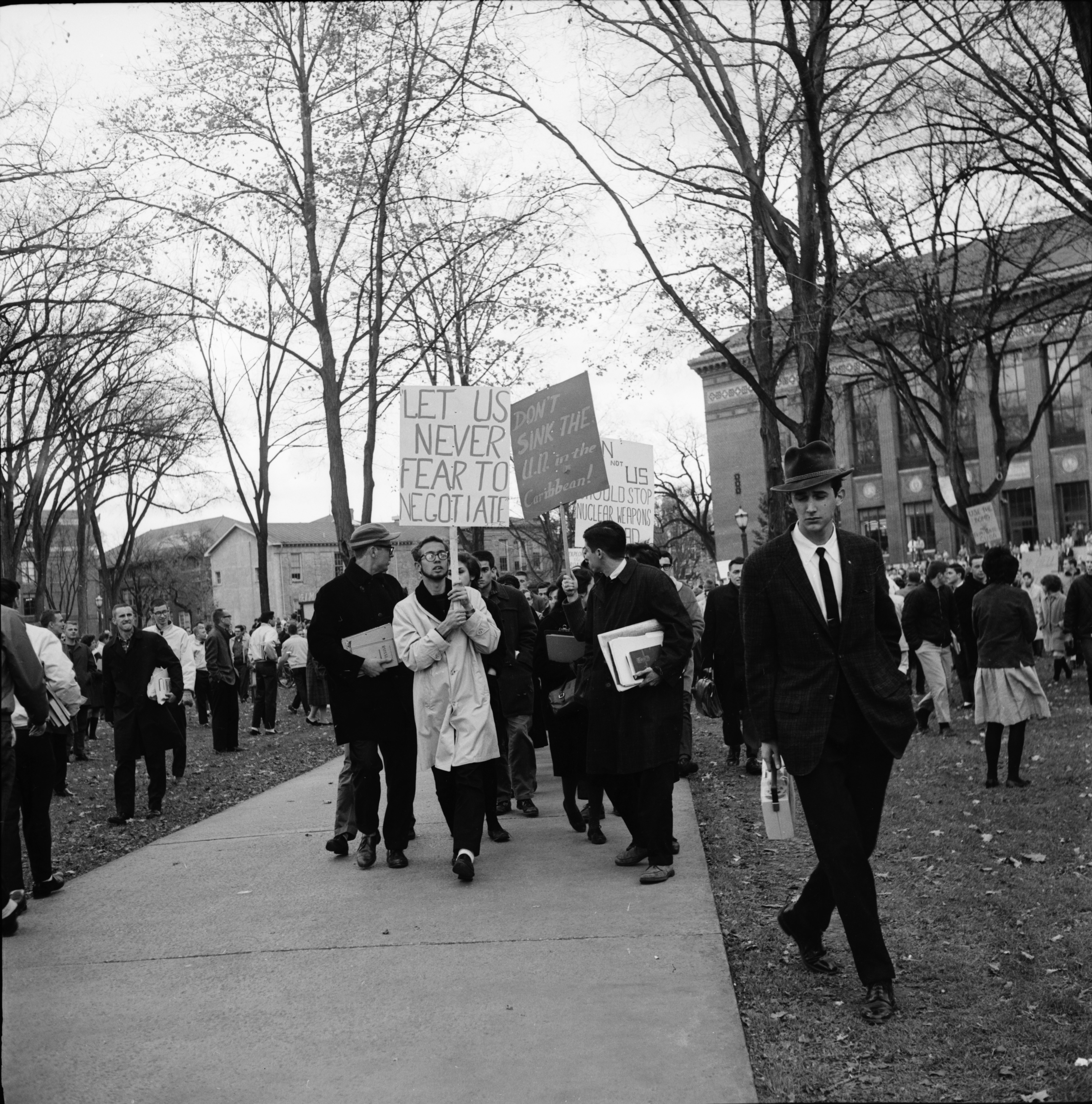 Demonstrators for and against America's Cuban blockade on Michigan campus, October 25, 1962 image