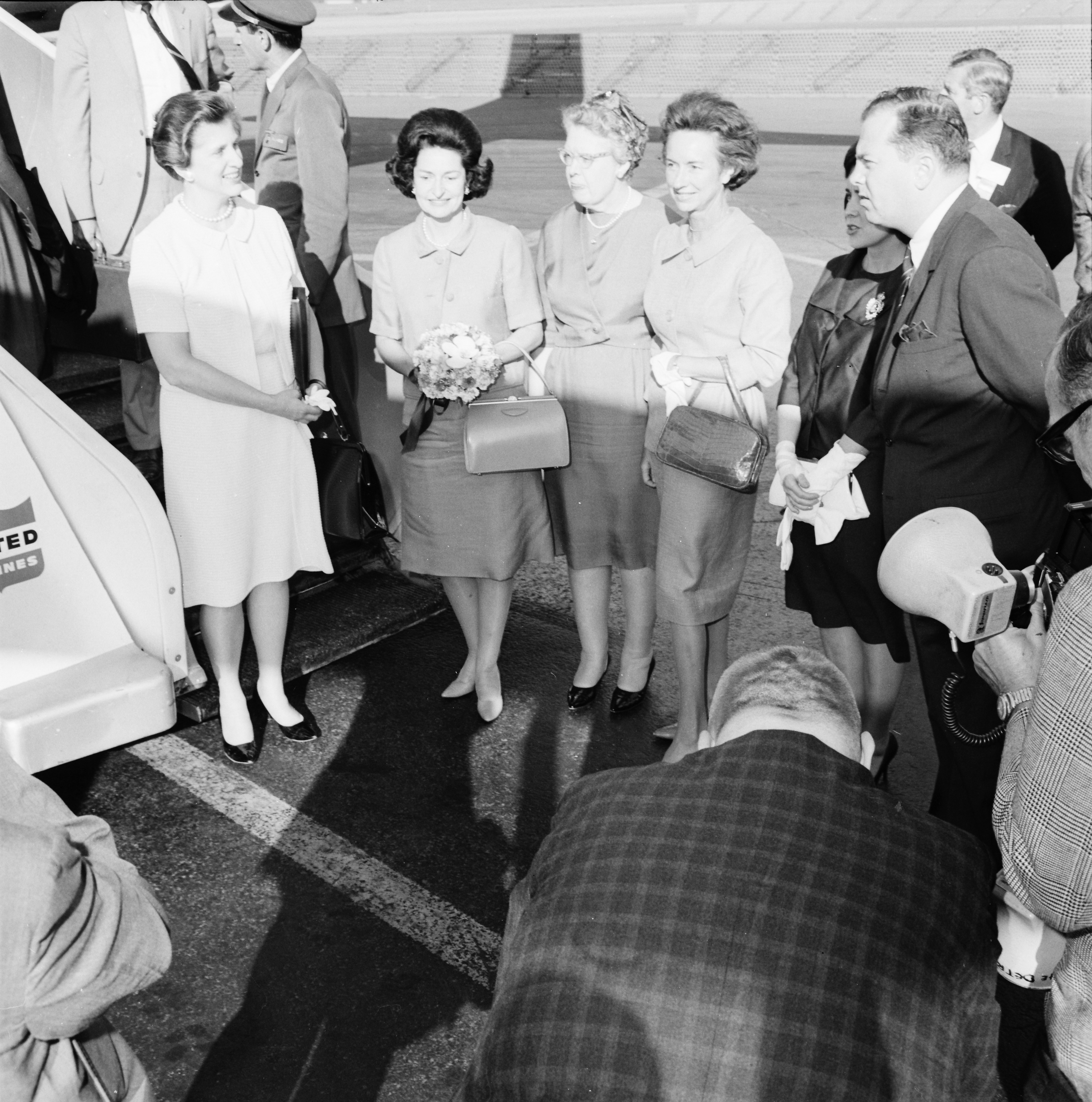 First Lady Lady Bird Johnson at Willow Run Airport, June 1964 image