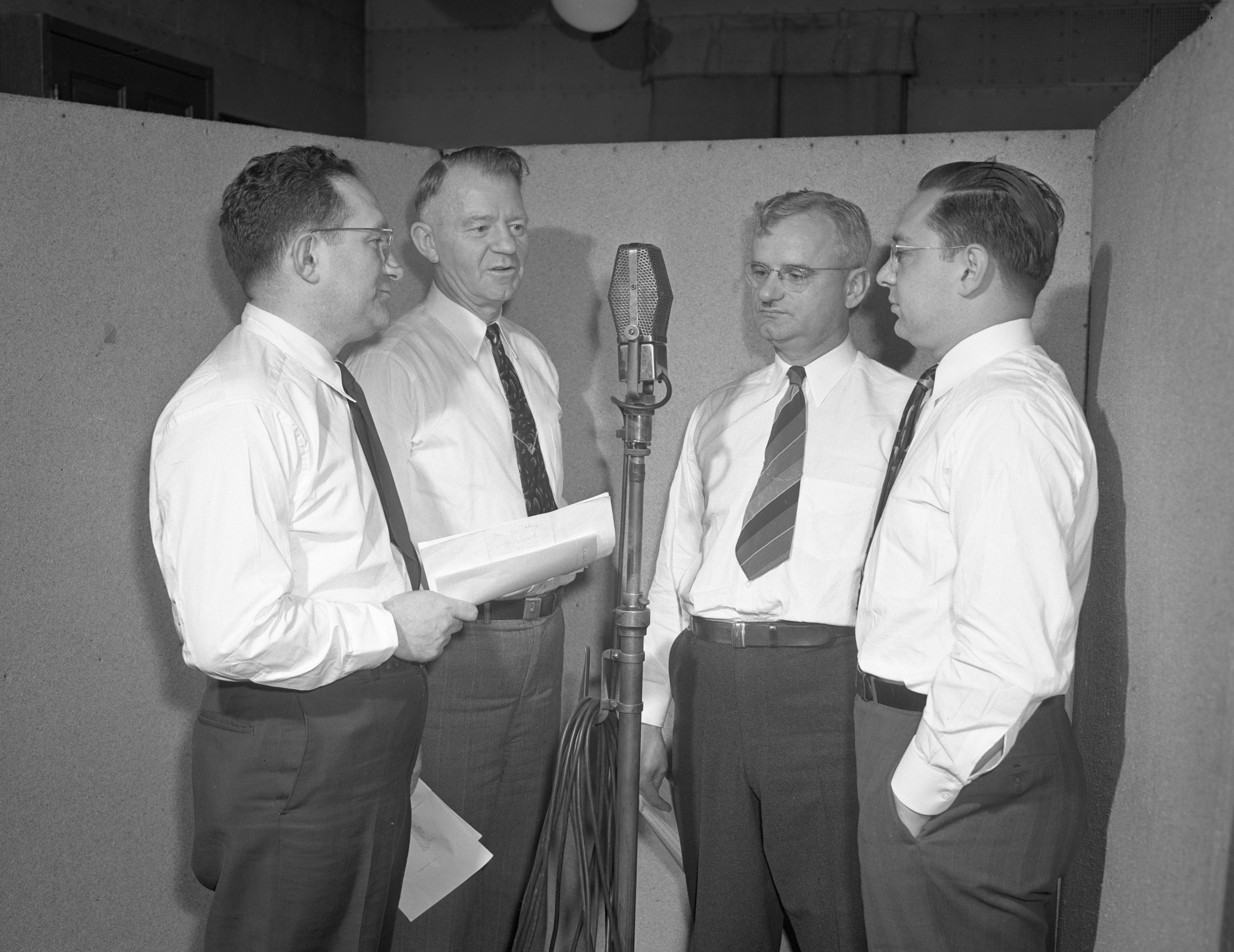 University of Michigan Broadcast Morris Hall (WWJ) with Vets Rehabilitation Directors, May 1945 image