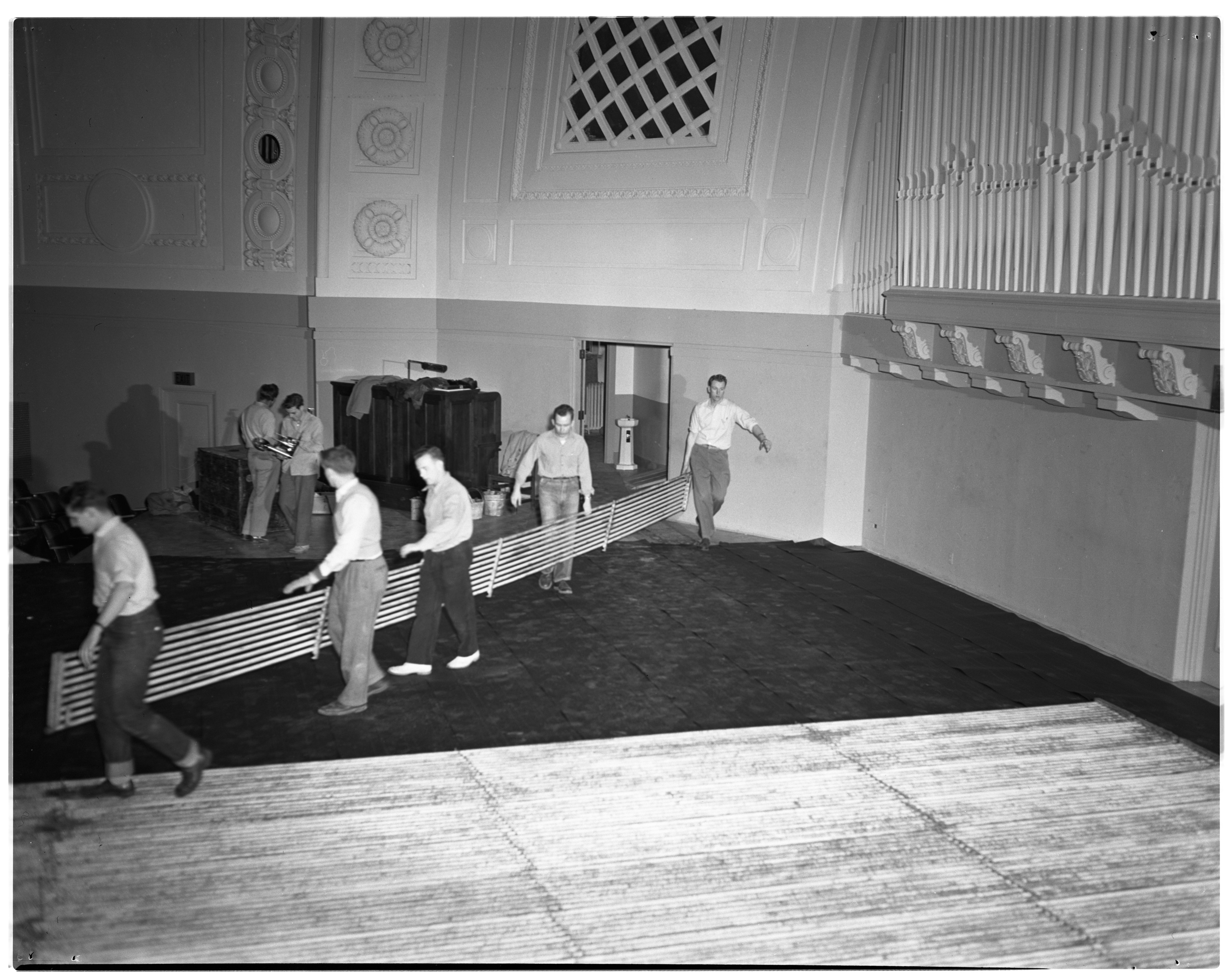 Preparing Hill Auditorium Stage for Ice Show, March 1950 image