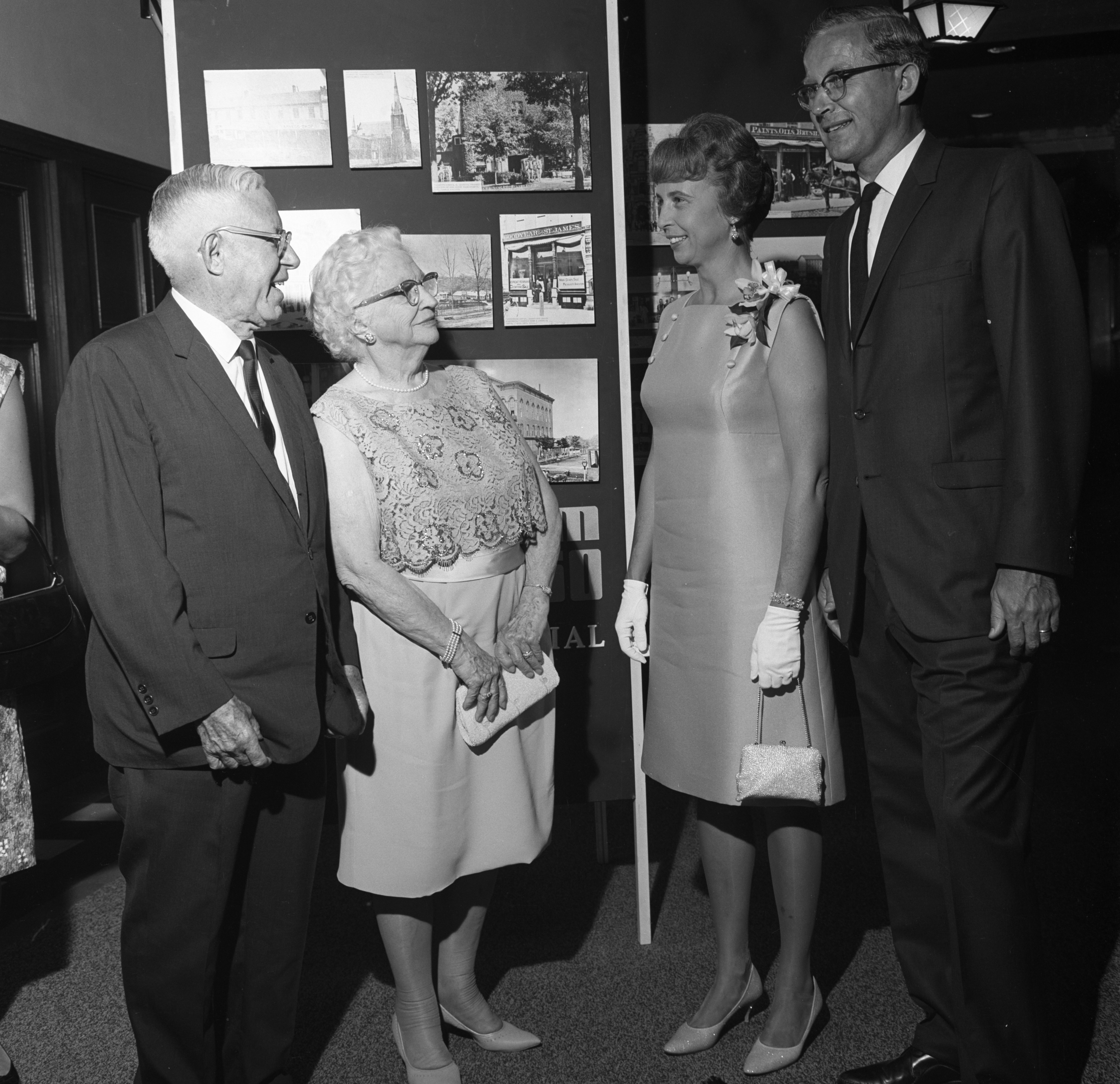 Wendell & Violet Hulcher, On Right, Talk To Guests At The U-M Sesquicentennial Birthday Gala At The Union Ballroom, August 28, 1967 image