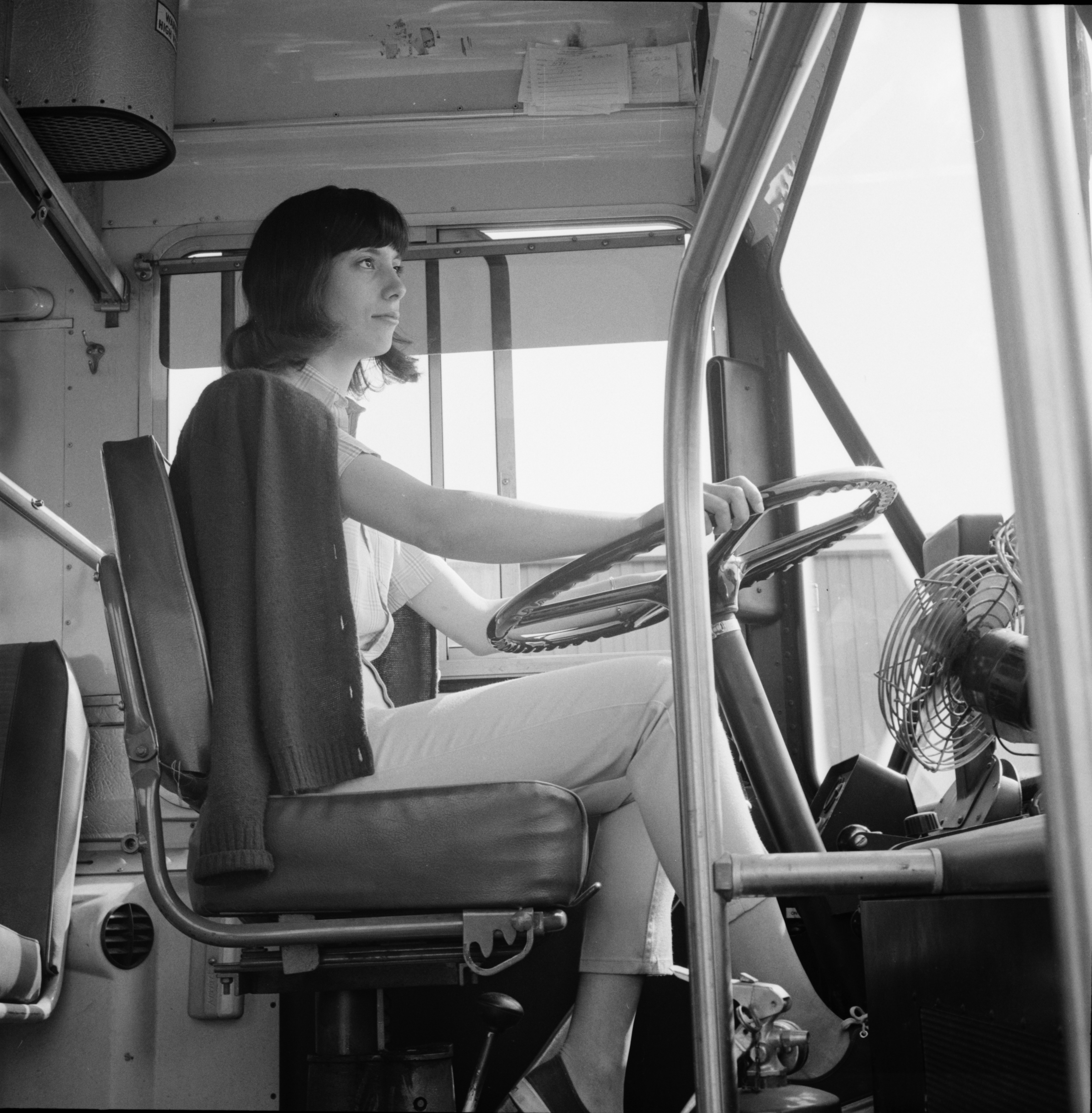 Cathy Rosey is the University's First Woman Bus Driver, September 1970 image