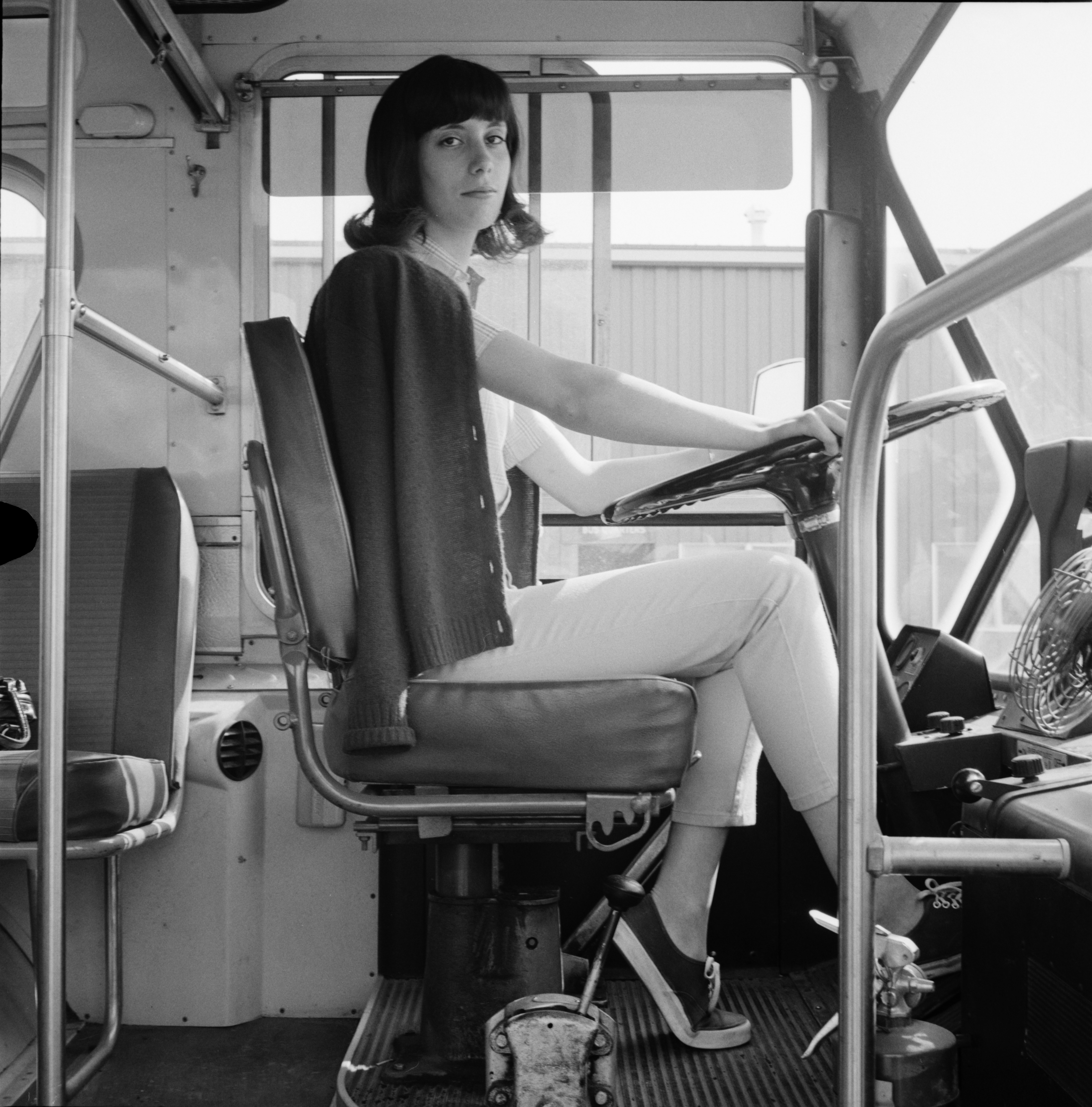Cathy Rosey Drives Bus for U-M, September 1970 image