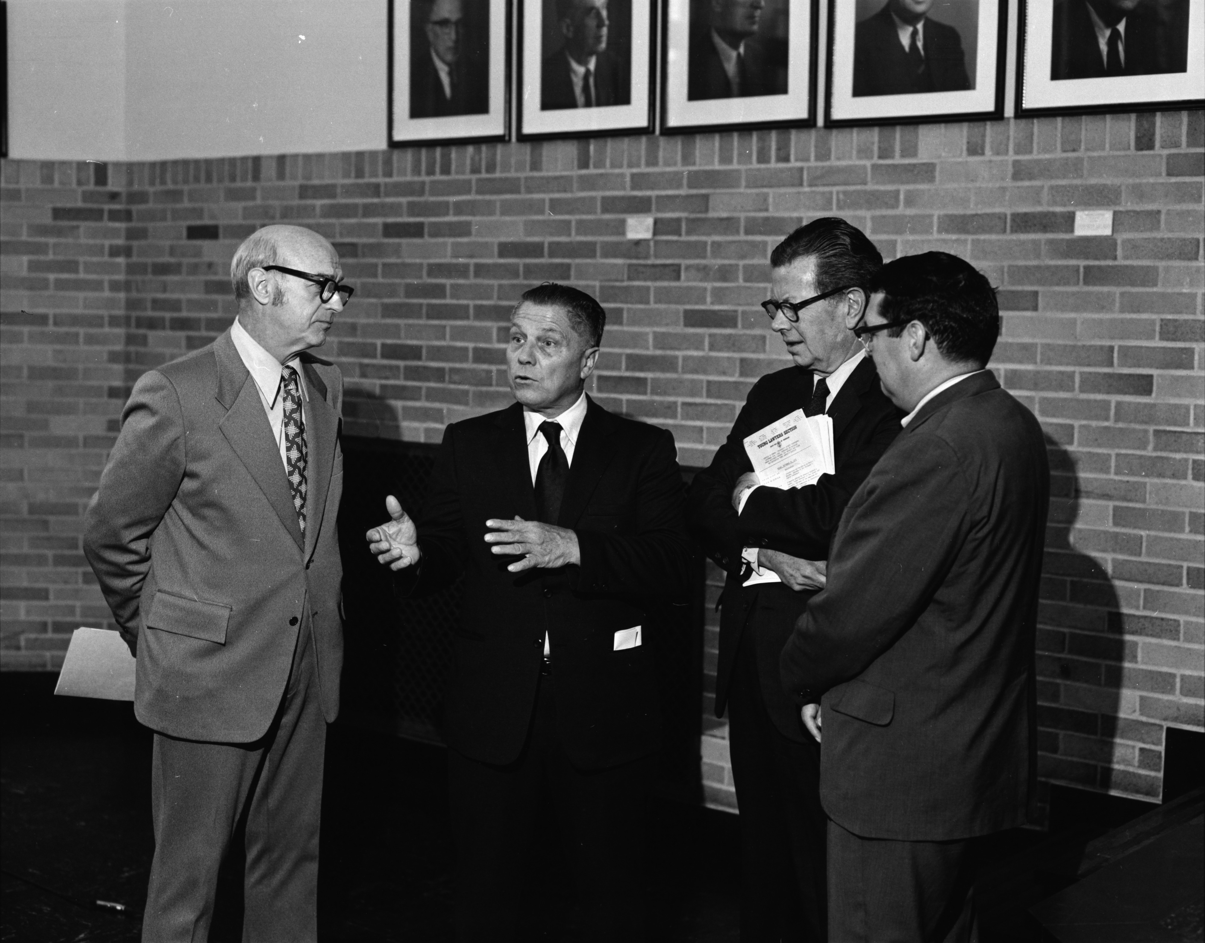 Jimmy Hoffa, Thomas G. Kavanaugh, Richard Hughes, and Theodore J. St. Antoine at the University of Michigan's Prisoner's Rights Conference, September 1972 image