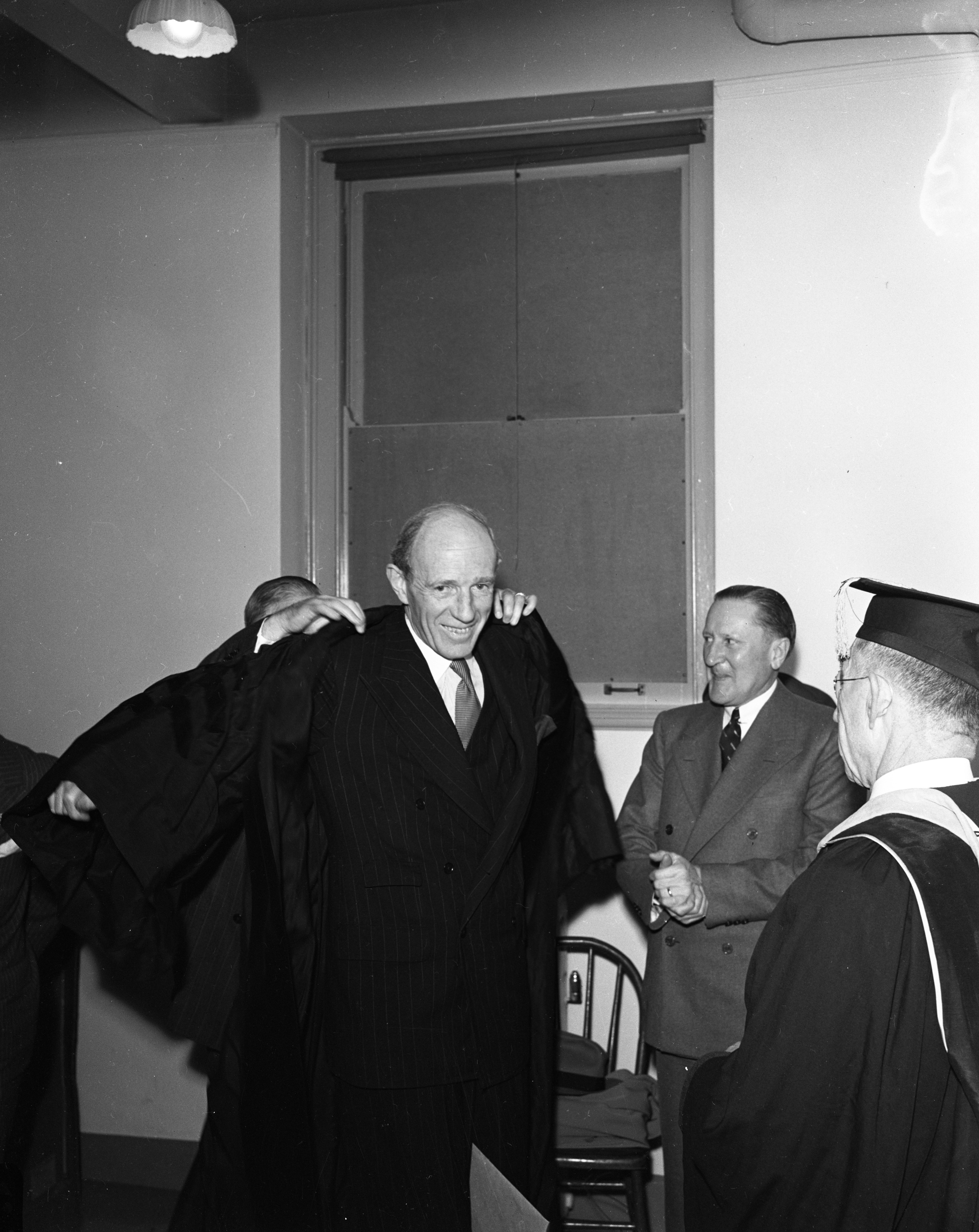 Edward Frederick Lindley Wood, third Viscount Halifax and British Ambassador to the United States, receives honorary degree at University of Michigan, April 1944 image