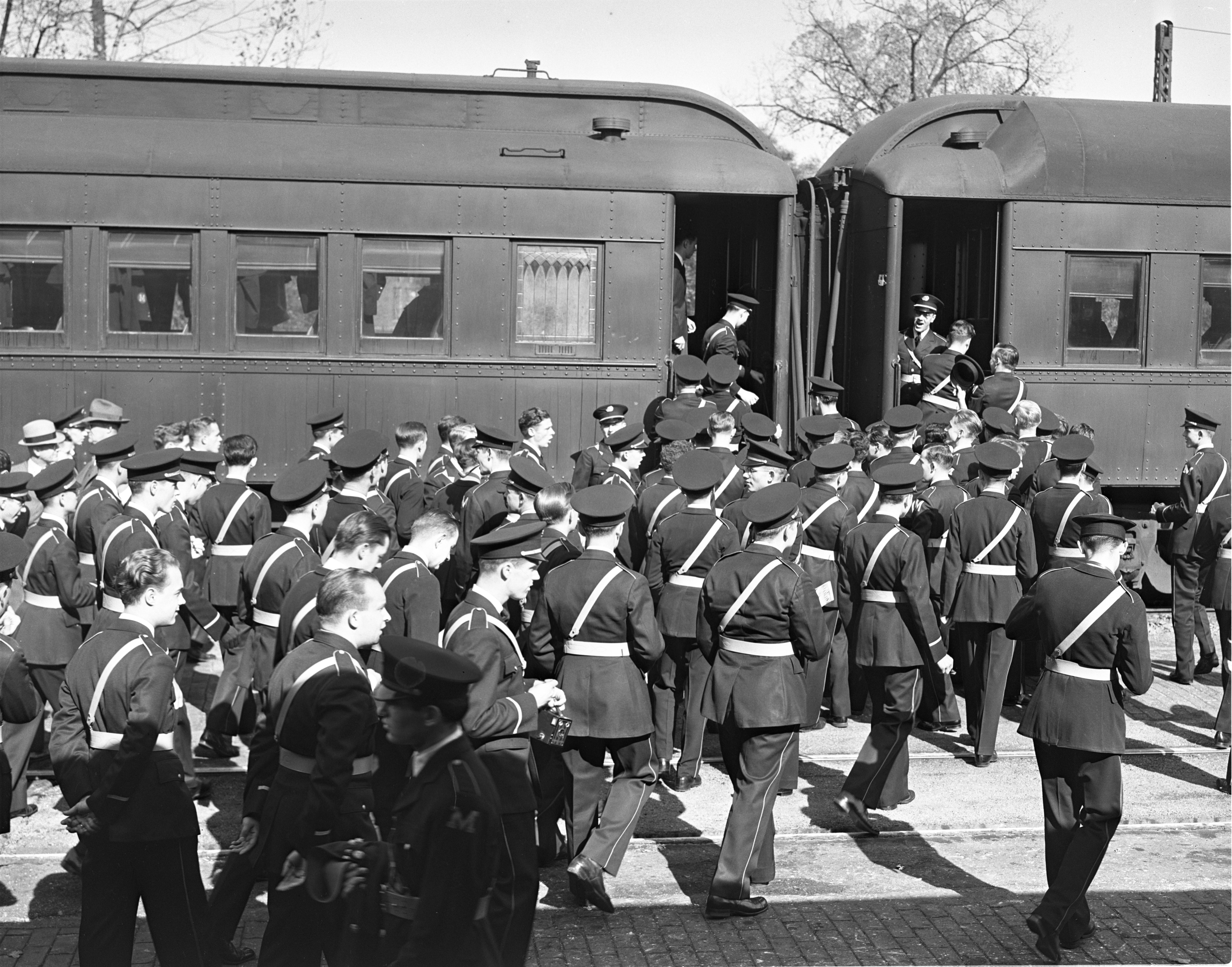 University of Michigan Marching Band Boards Michigan Central Train For Chicago, October 1939 image